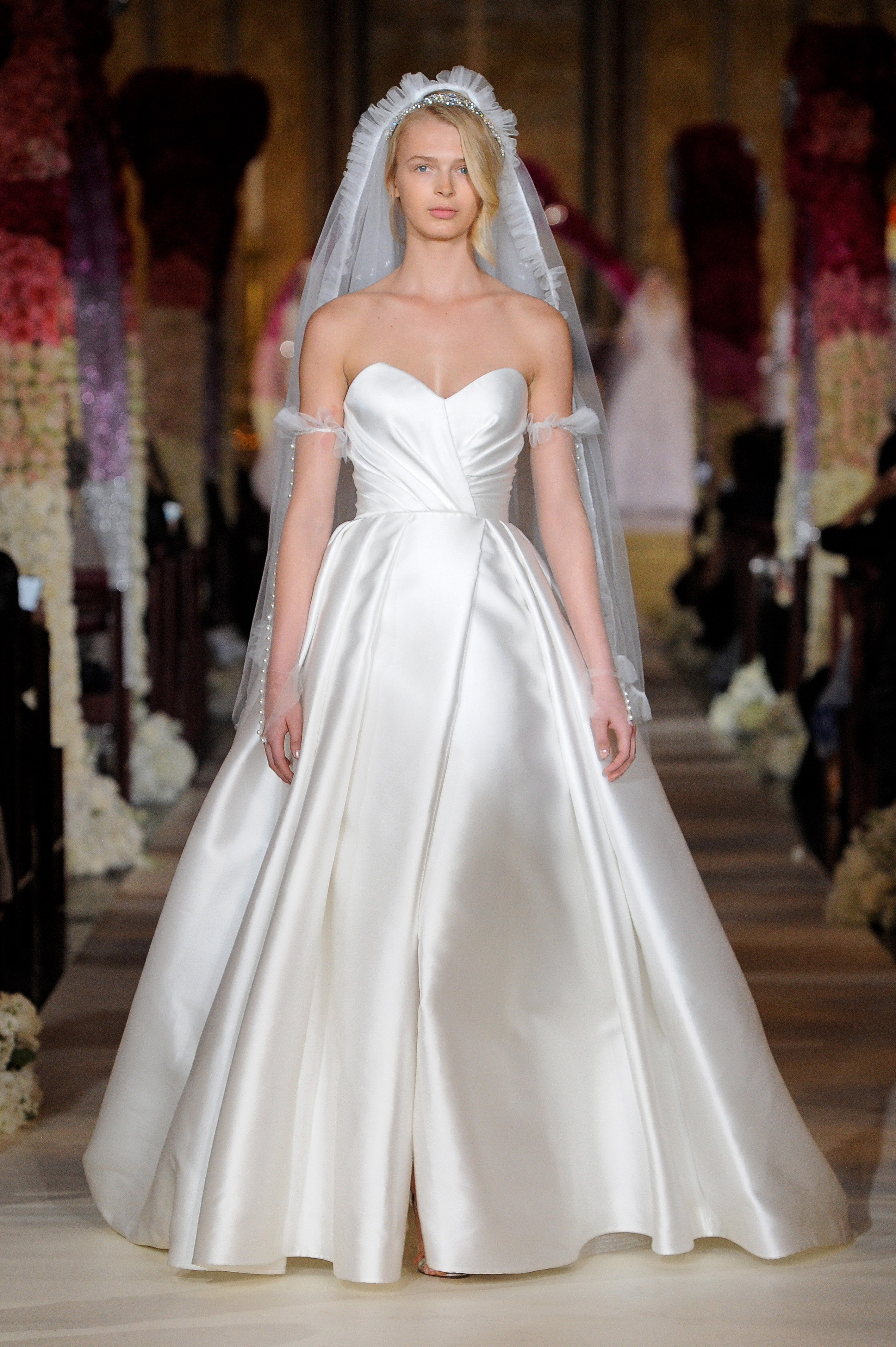 sweetheart neckline ruching a-line wedding dress Reem Acra Spring 2020