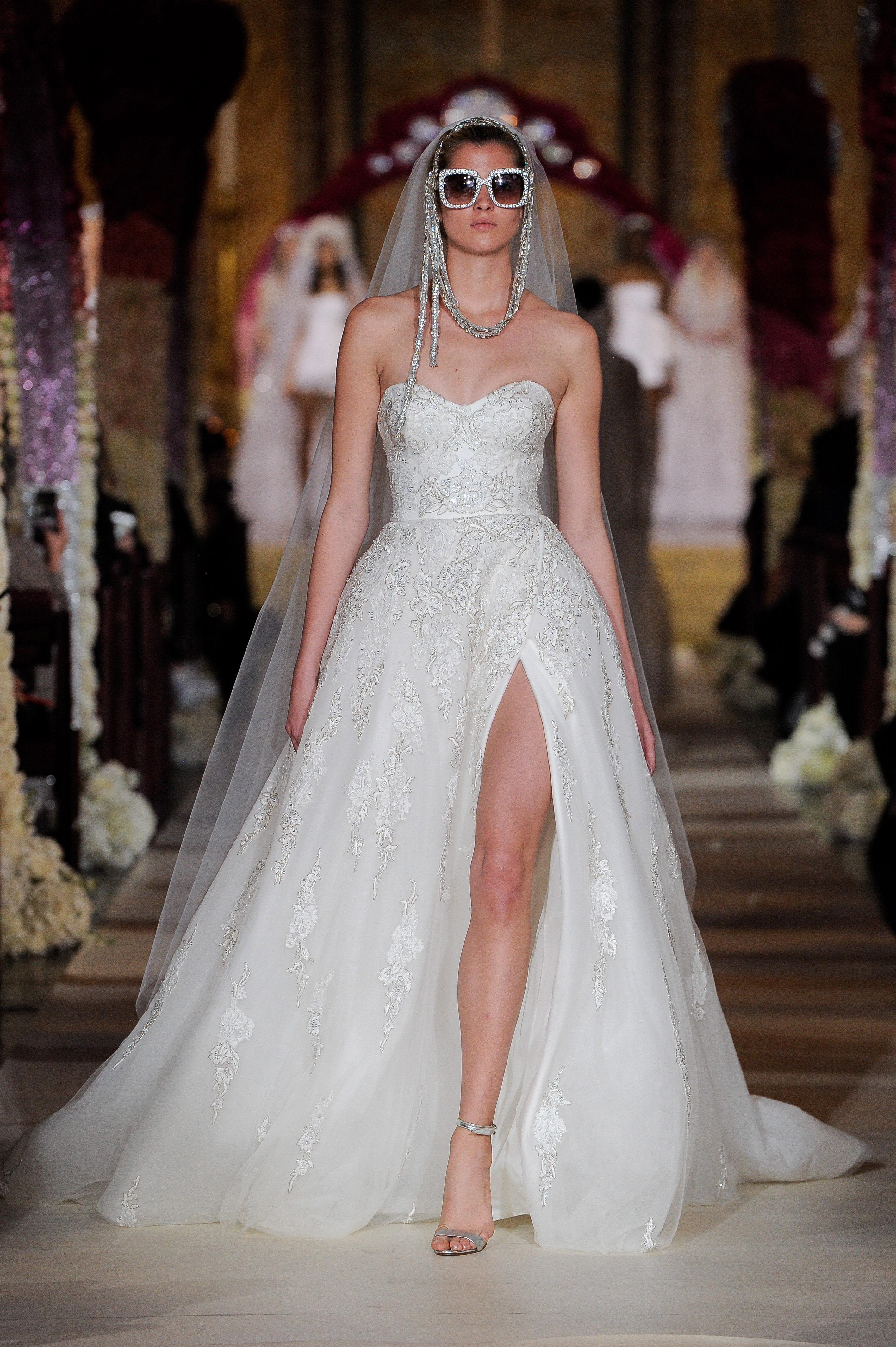 strapless sweetheart neckline side slit a-line wedding dress Reem Acra Spring 2020