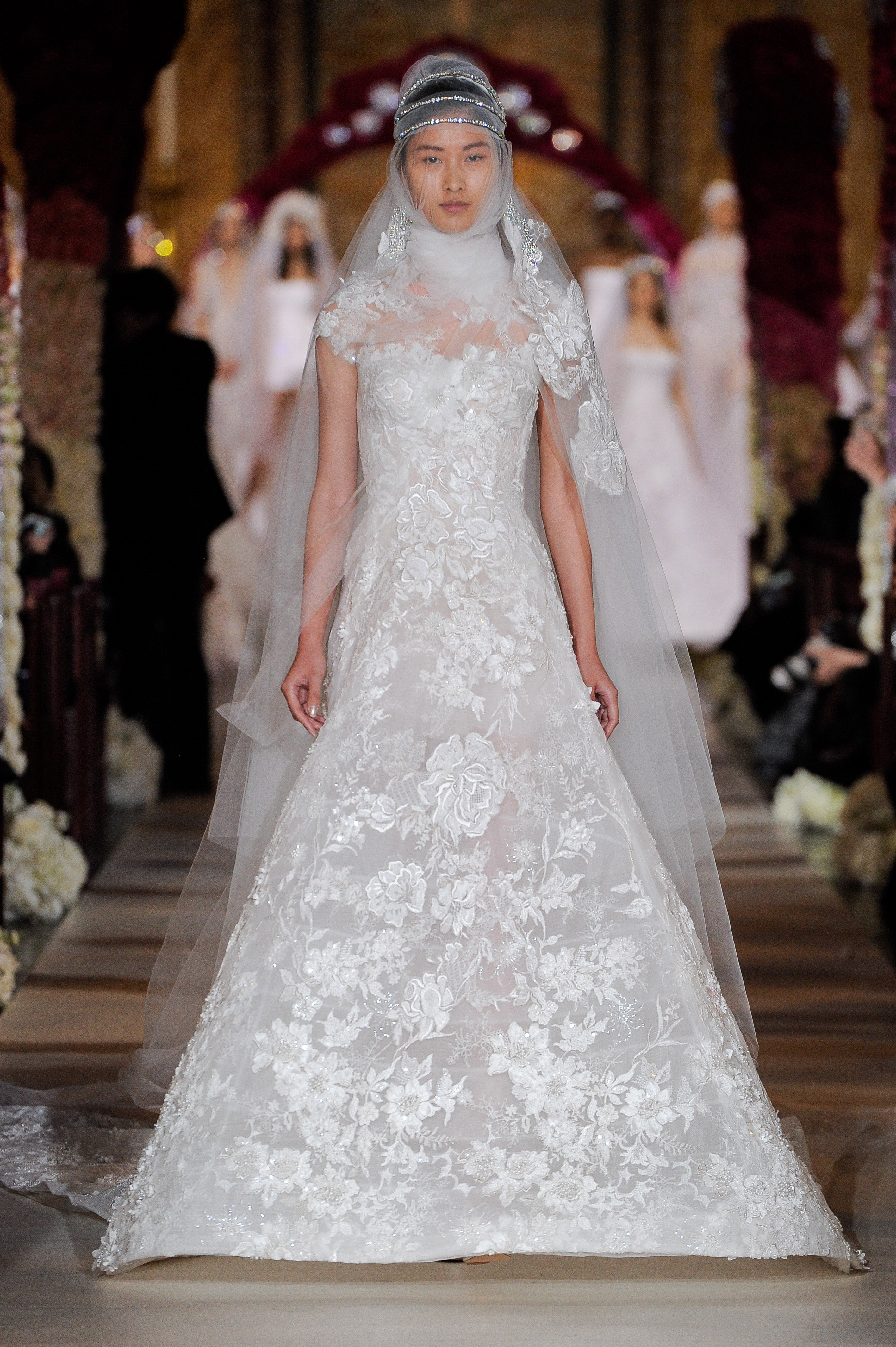 high neck embroidered lace a-line wedding dress Reem Acra Spring 2020