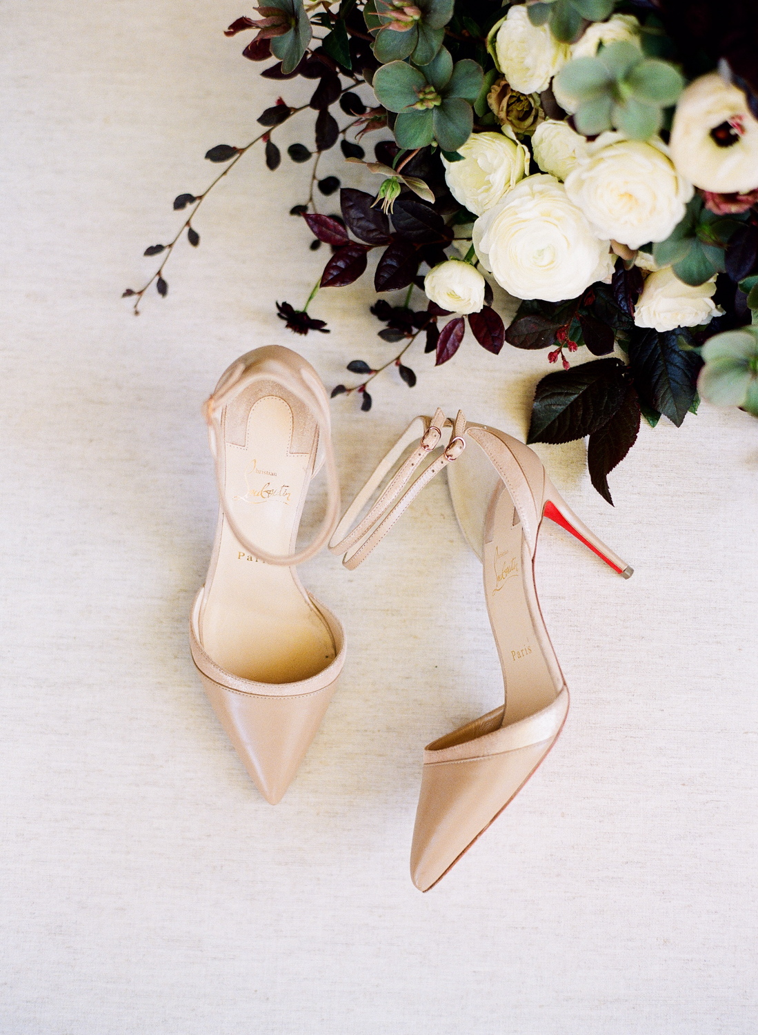 double ankle strapped pointy-toe cream Christian Louboutin pumps