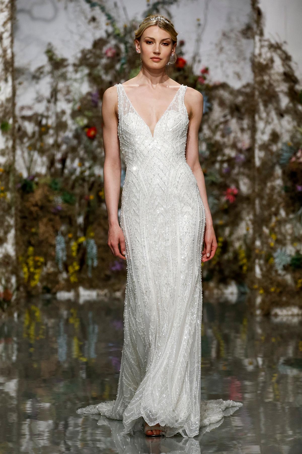 deep v-neck glitter beaded sheath dress Morilee by Madeline Gardner Spring 2020