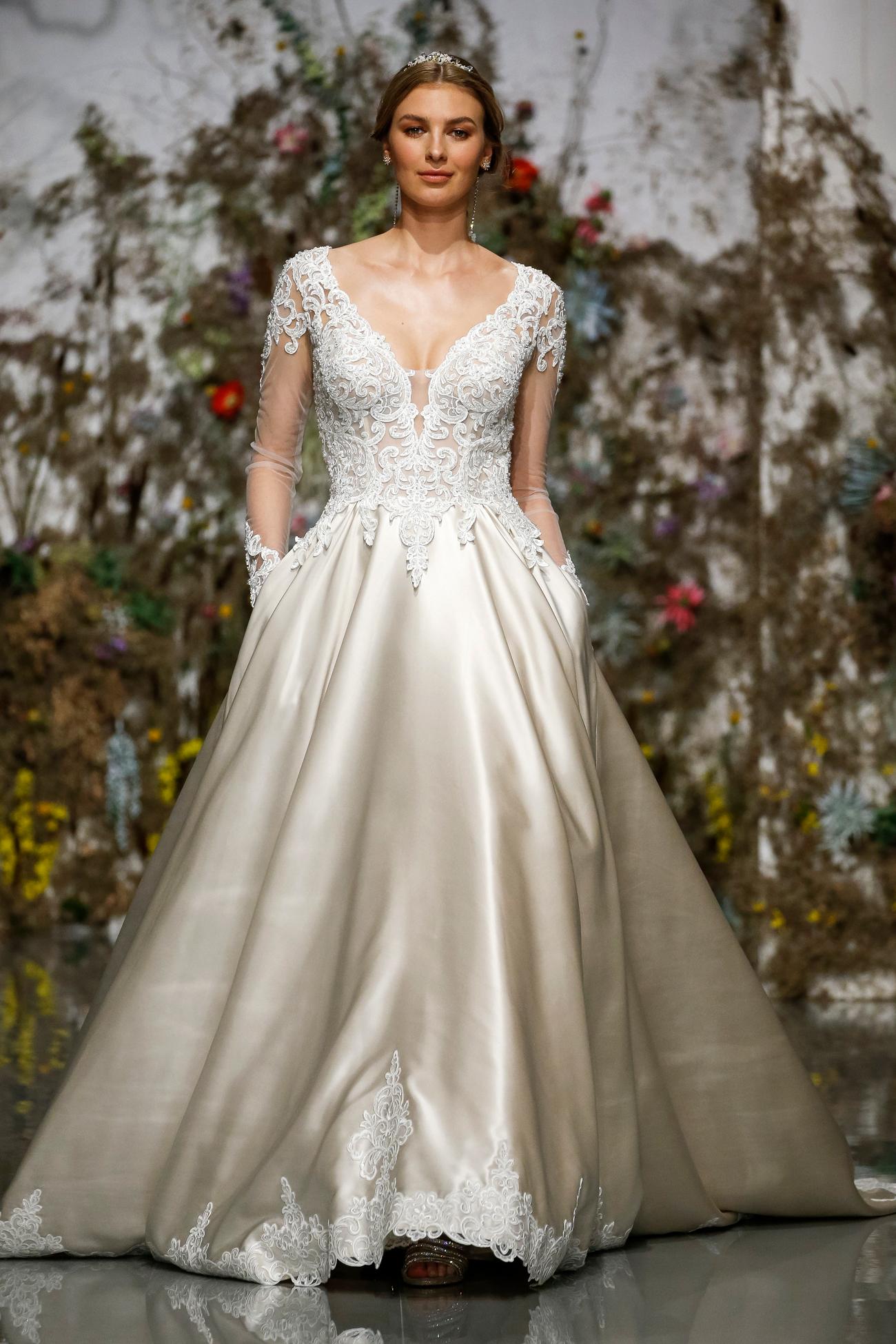 sheer lace long sleeve v-neck pockets a-line Morilee by Madeline Gardner Spring 2020