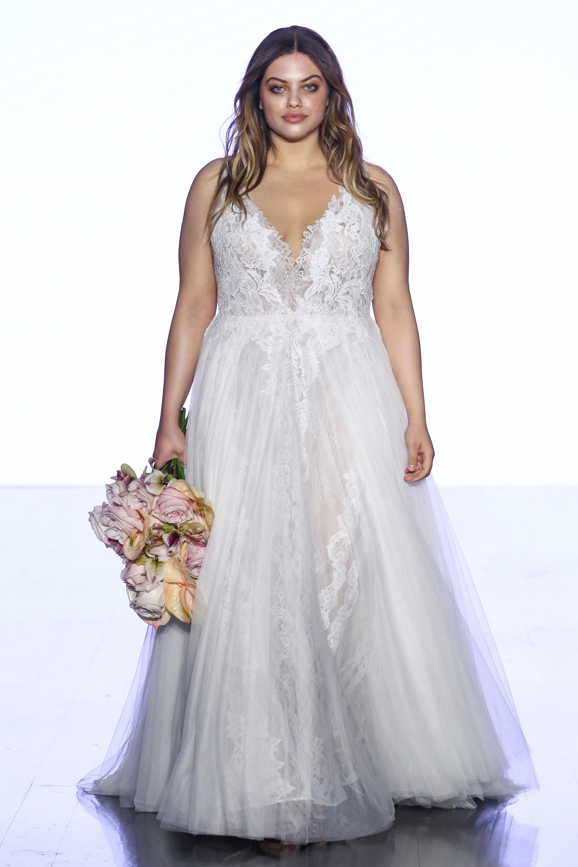 watters v-neck tulle wedding dress spring 2020
