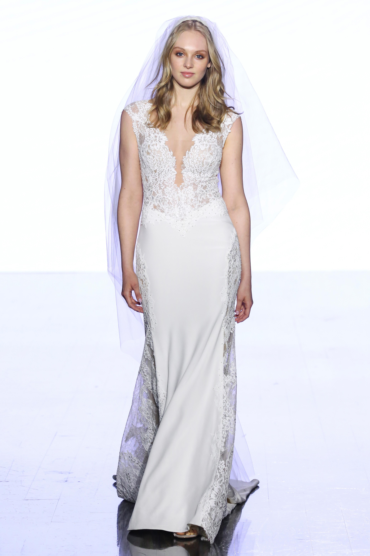watters floral applique sheath wedding dress spring 2020