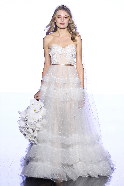 watters semi-sweetheart with ruffles wedding dress spring 2020