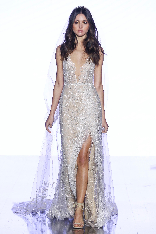 watters sheath with high slit wedding dress spring 2020