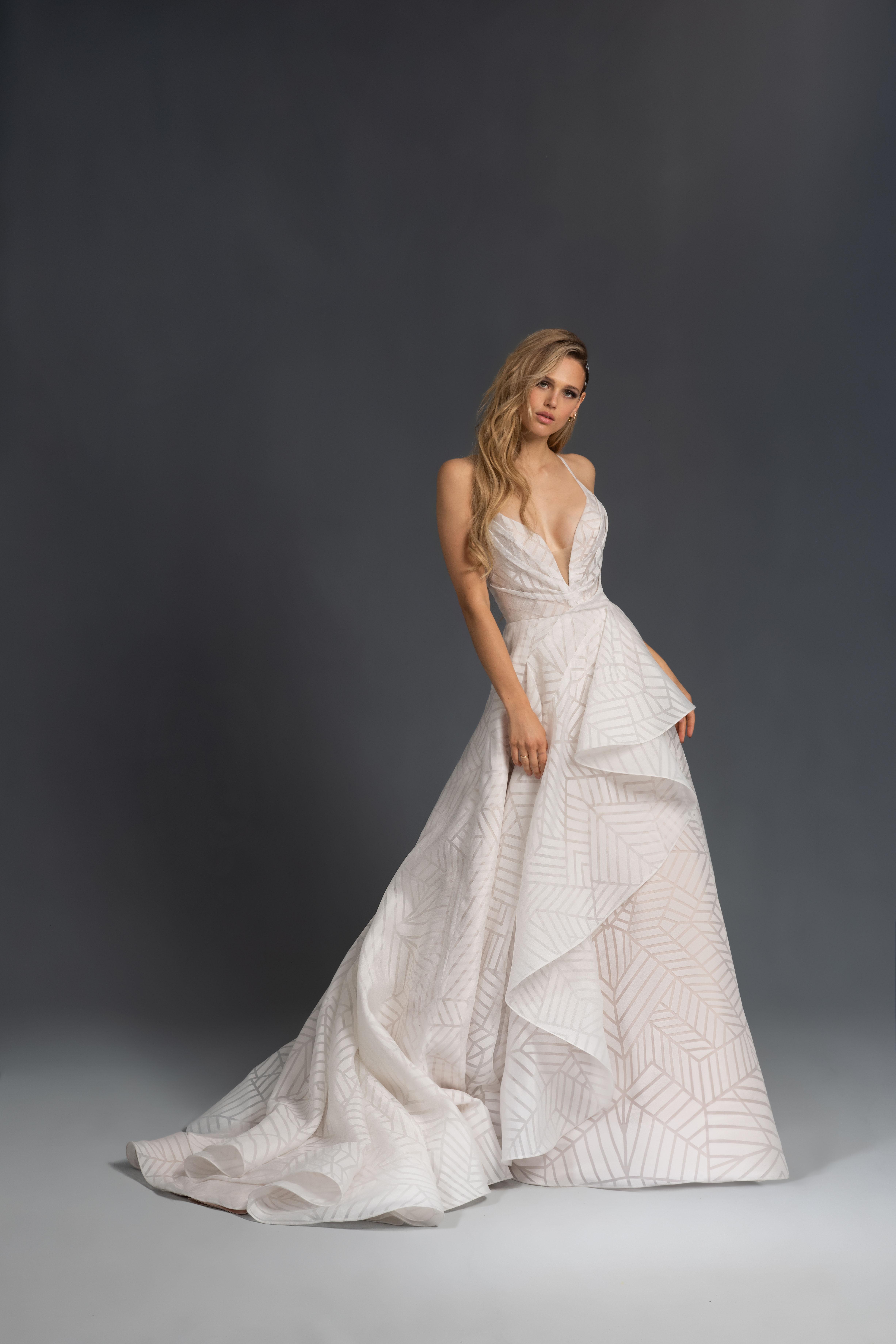 spaghetti strap deep v-neck geometric print a-line wedding dress Hayley Paige Spring 2020