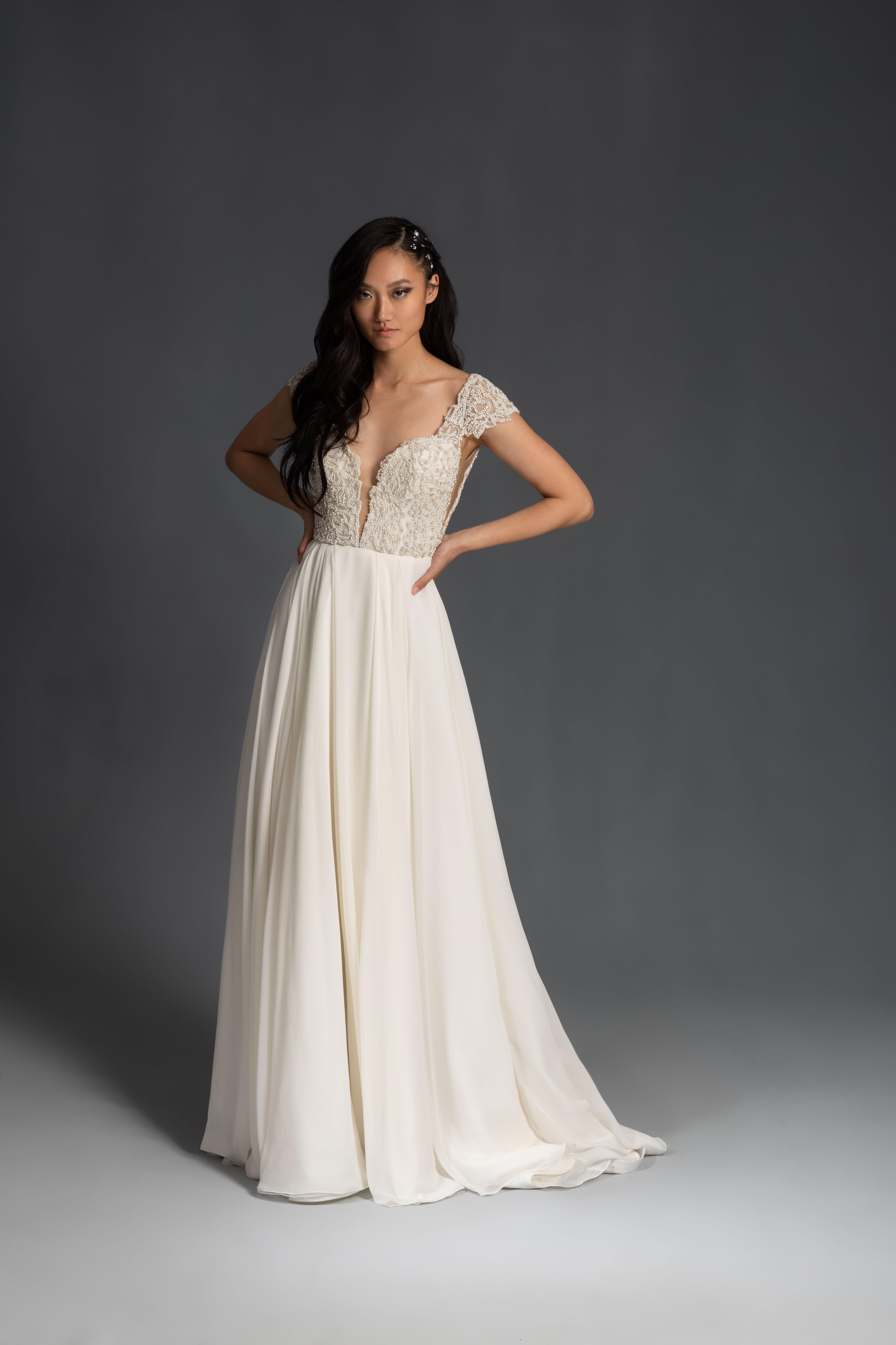 cap sleeves deep v-neck lace a-line wedding dress Hayley Paige Spring 2020