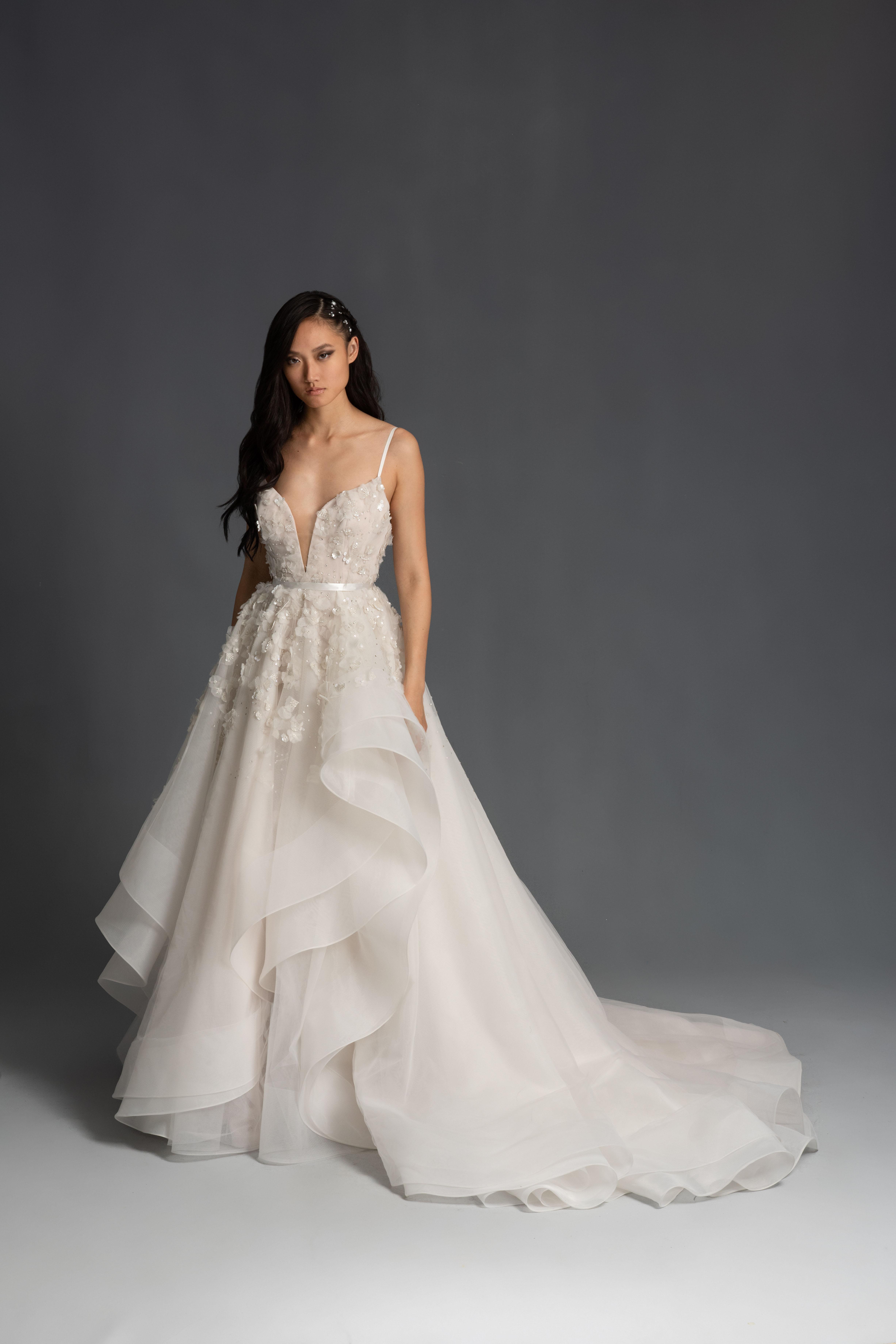 spaghetti strap deep v-neck floral applique a-line wedding dress Hayley Paige Spring 2020