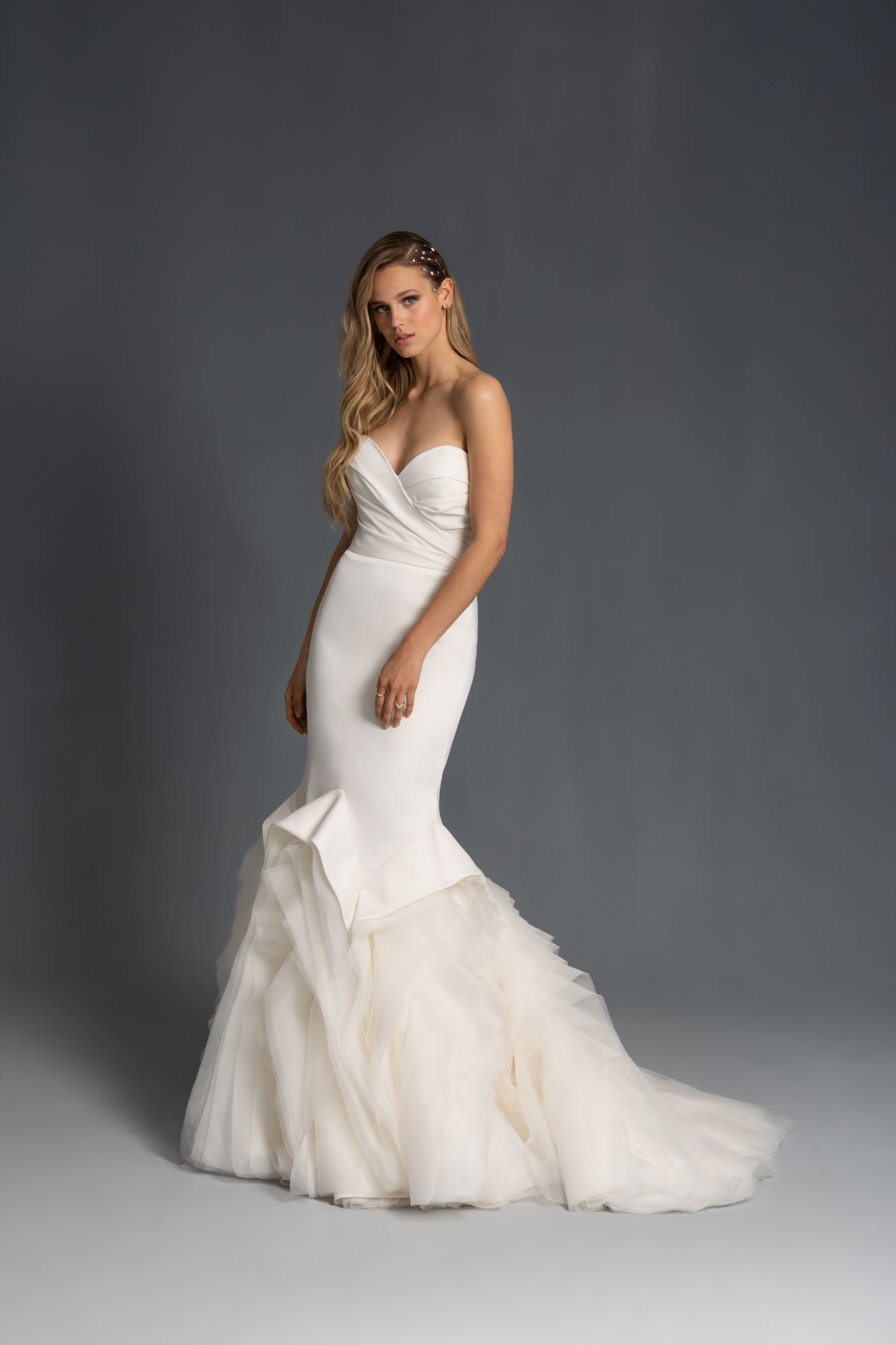 strapless sweetheart ruching tulle mermaid wedding dress Hayley Paige Spring 2020