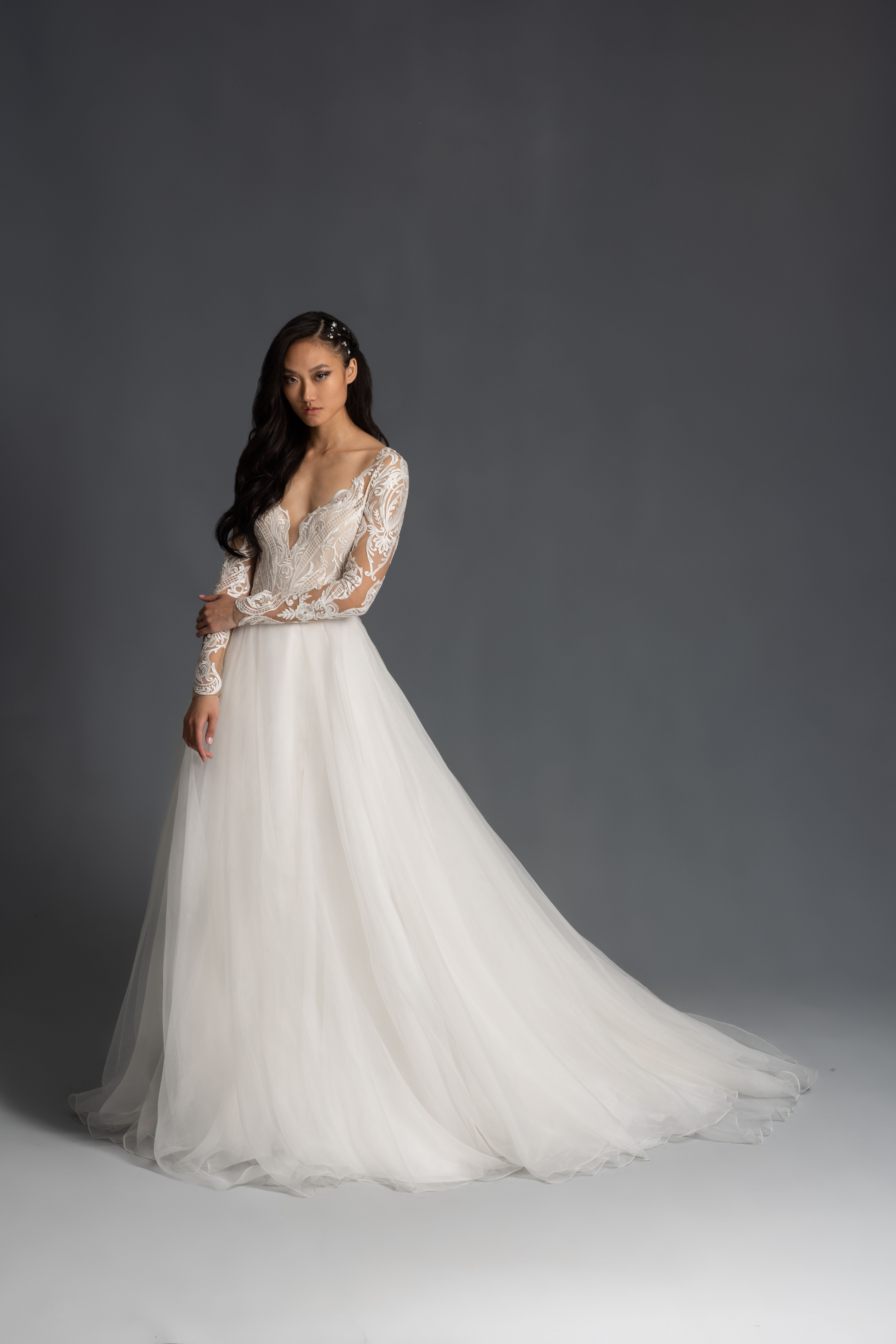 lace bodice and long sleeve v-neck tulle skirt a-line wedding dress Hayley Paige Spring 2020