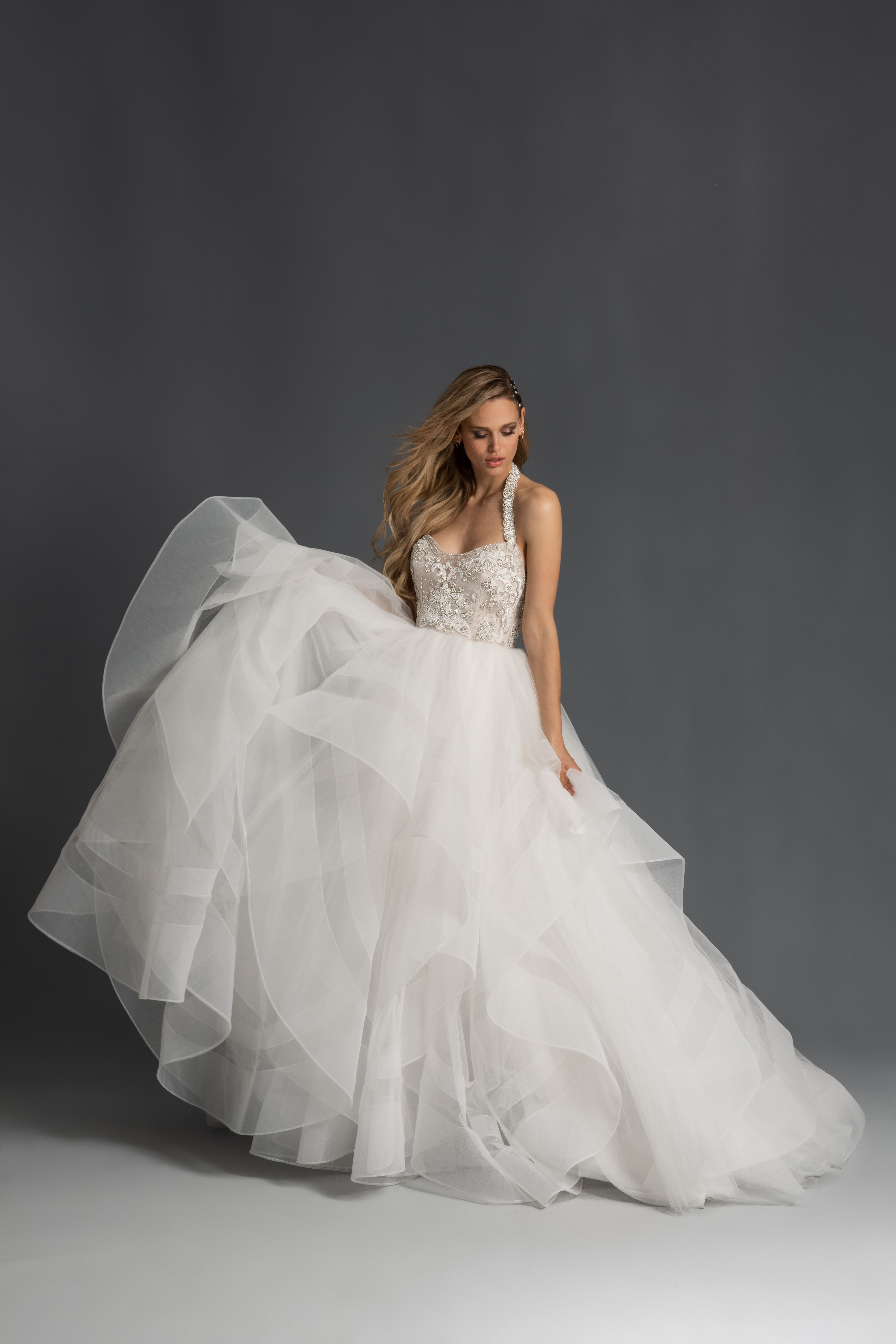 halter strap beading layered tulle skirt ball gown wedding dress Hayley Paige Spring 2020