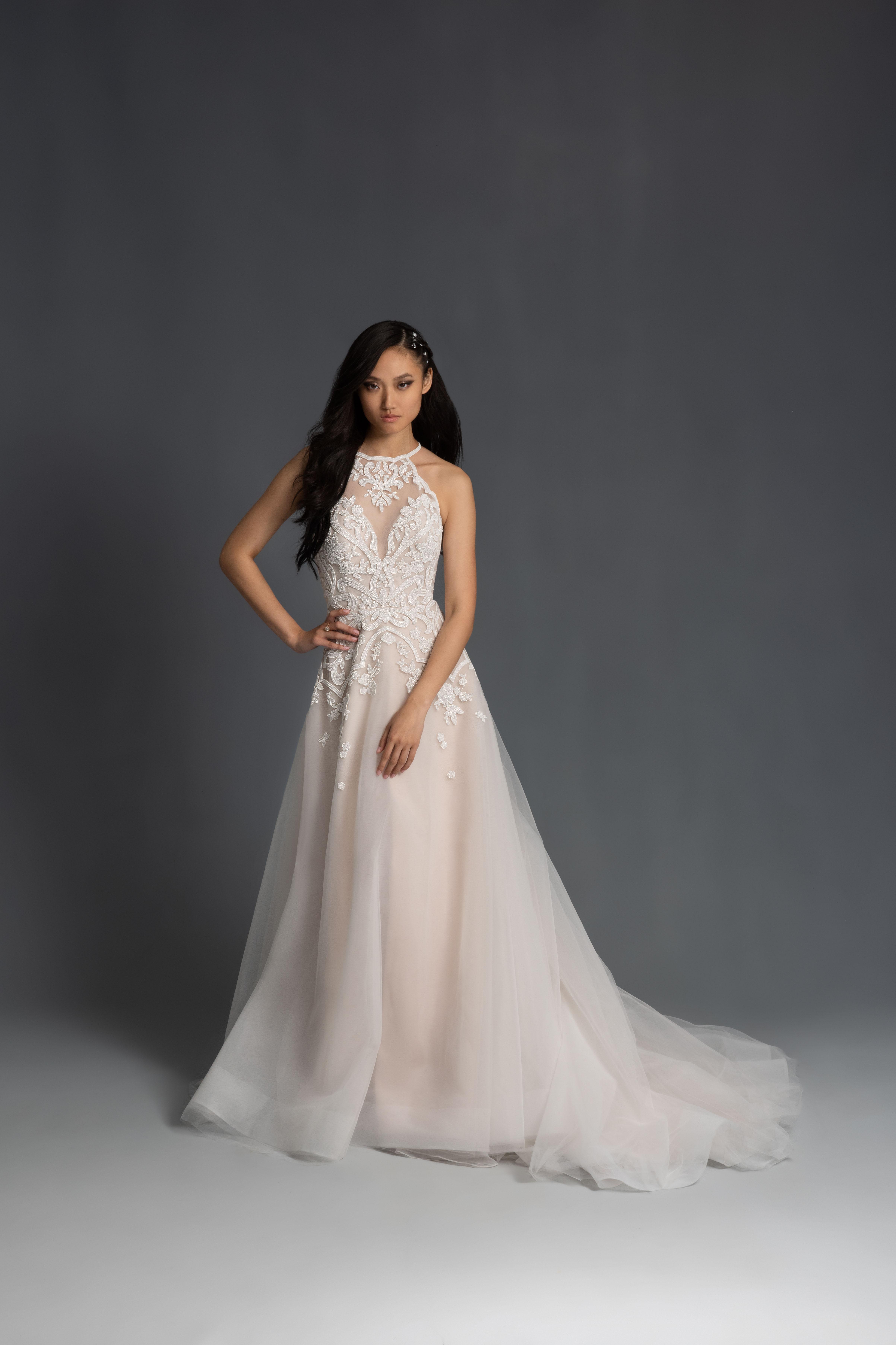 lace halter neck sleeveless a-line wedding dress Hayley Paige Spring 2020