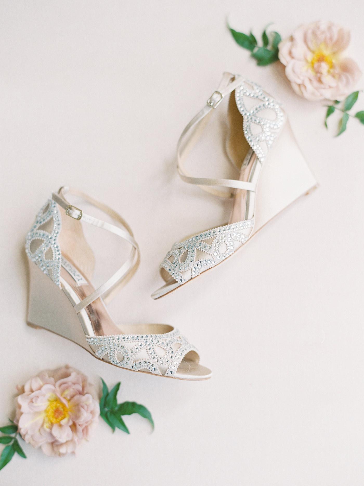 mykaela and brendon wedding brides satin and crystal wedges