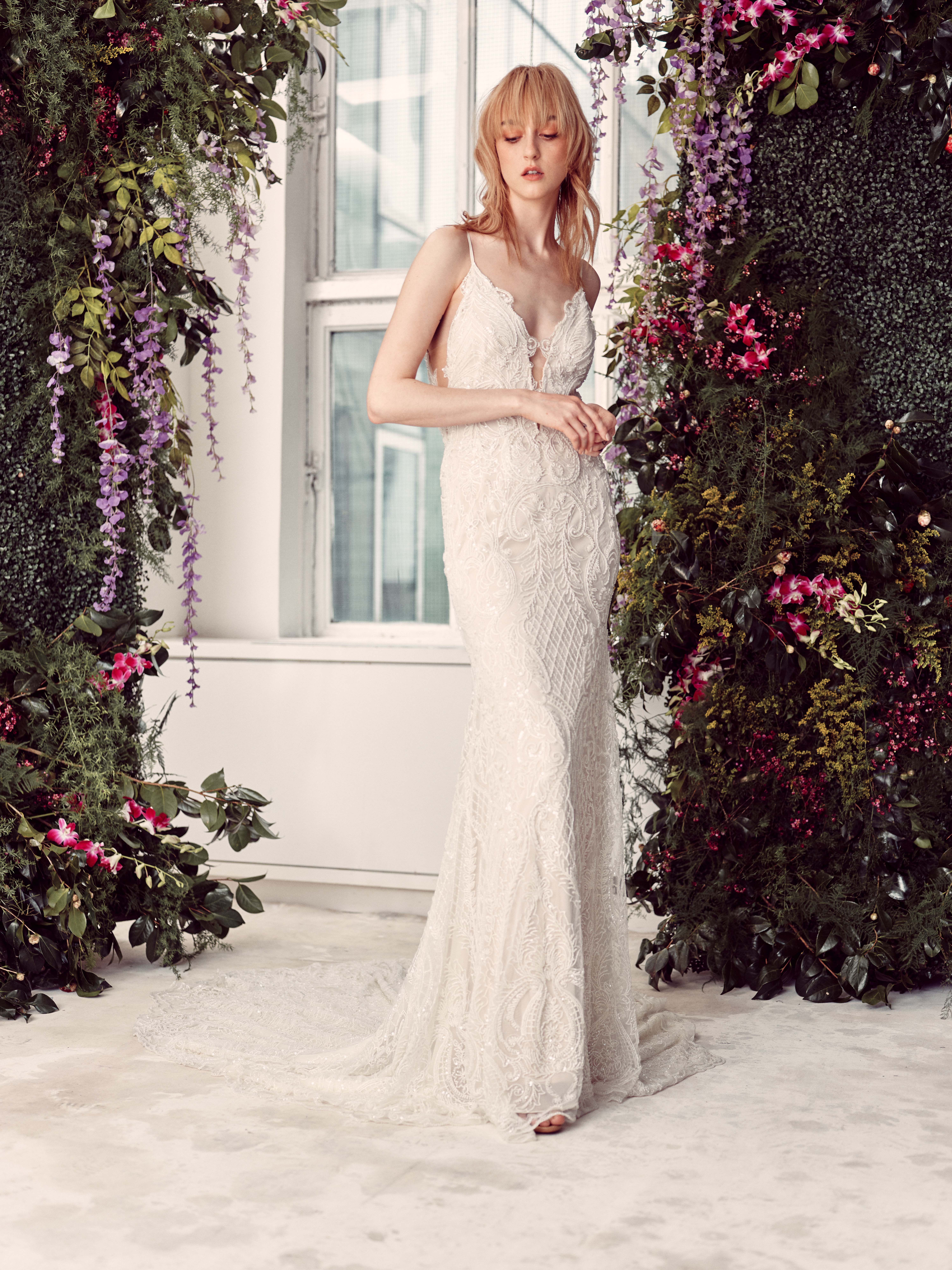 spaghetti strap deep v-neck lace semi mermaid wedding dress Rivini by Rita Vinieris Spring 2020