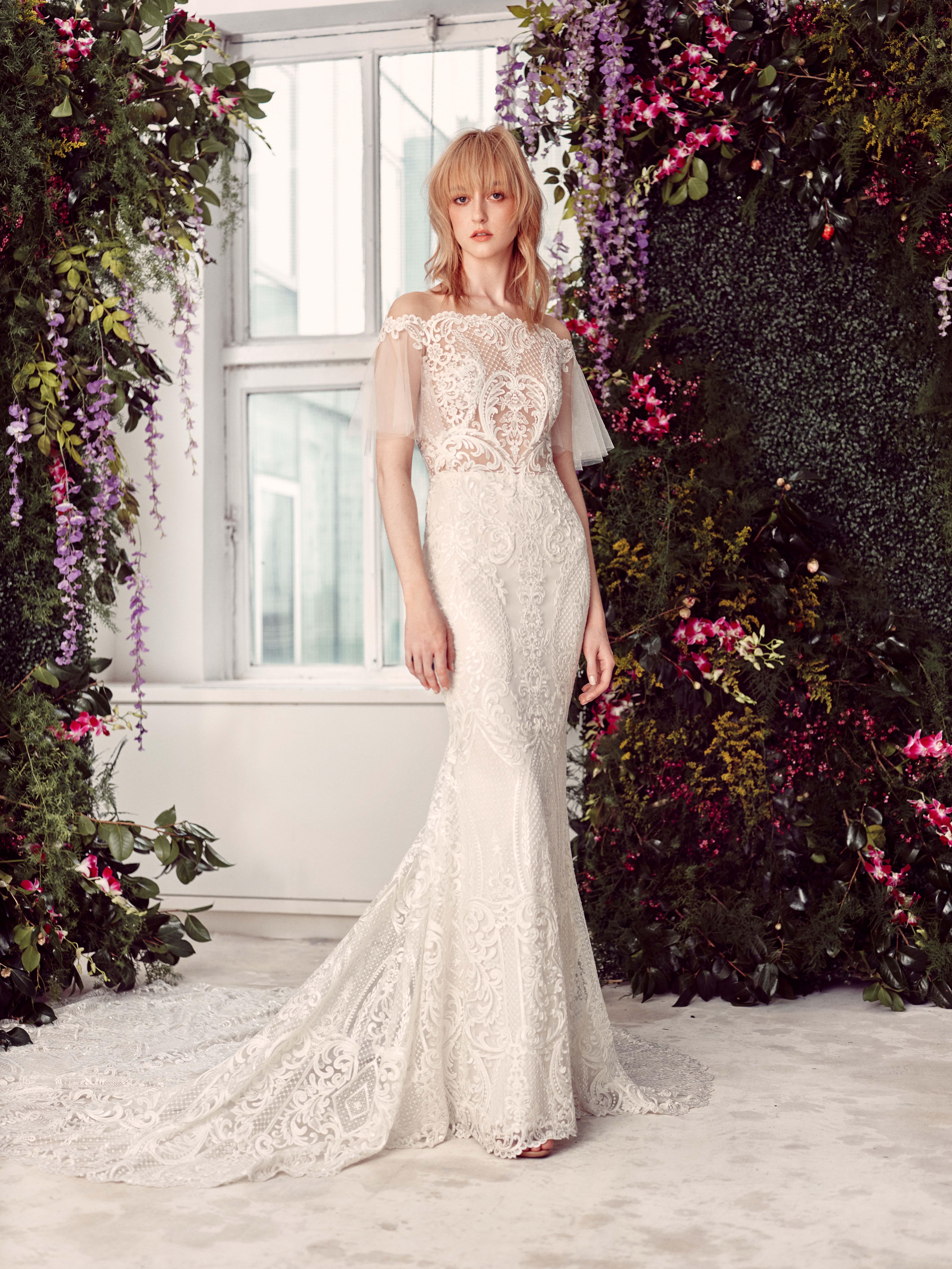tulle off-the-shoulder sheer lace bodice semi mermaid wedding dress Rivini by Rita Vinieris Spring 2020