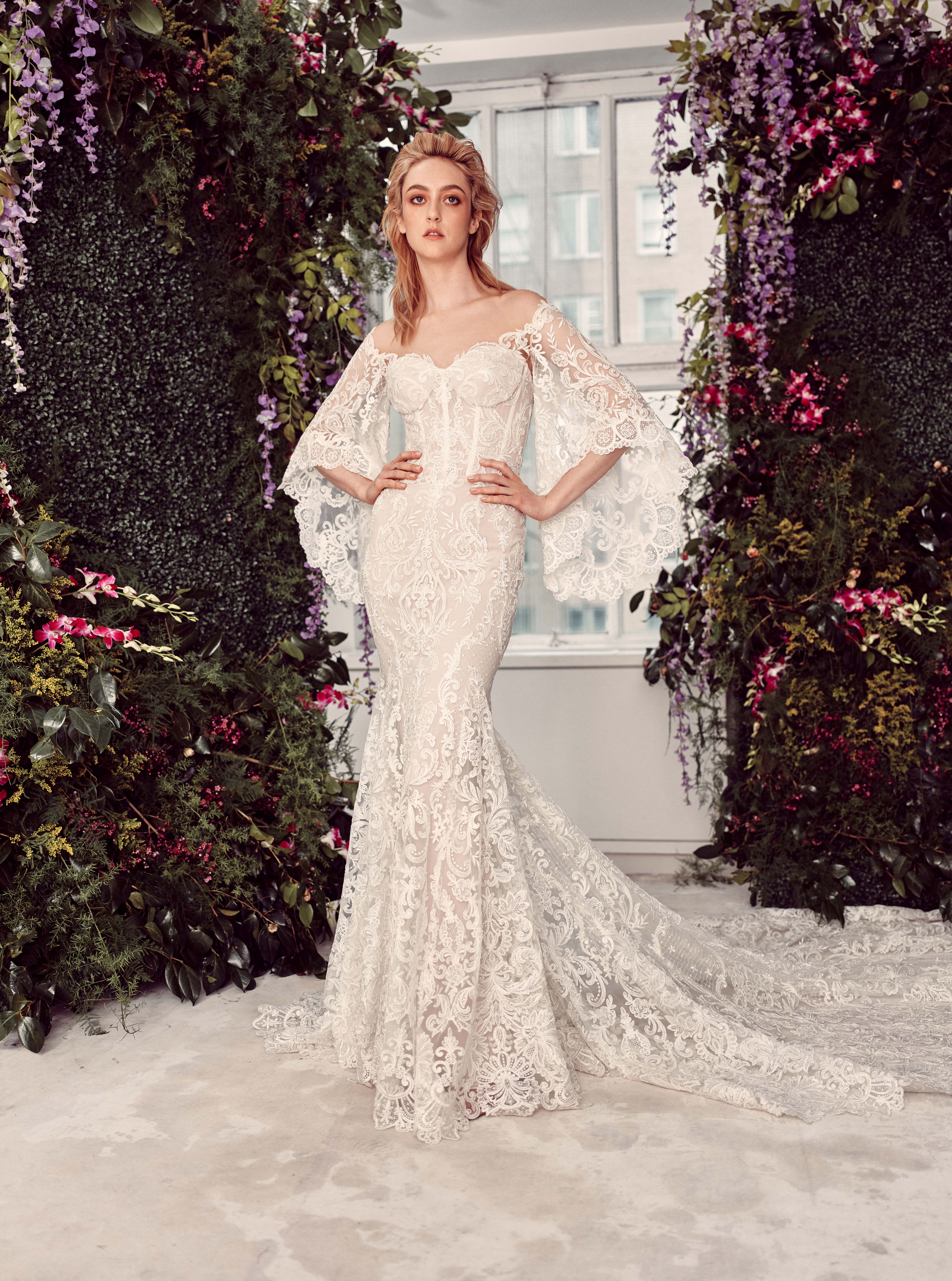off-the-shoulder lace bell sleeves semi sweetheart exposed boning mermaid wedding dress Rivini by Rita Vinieris Spring 2020
