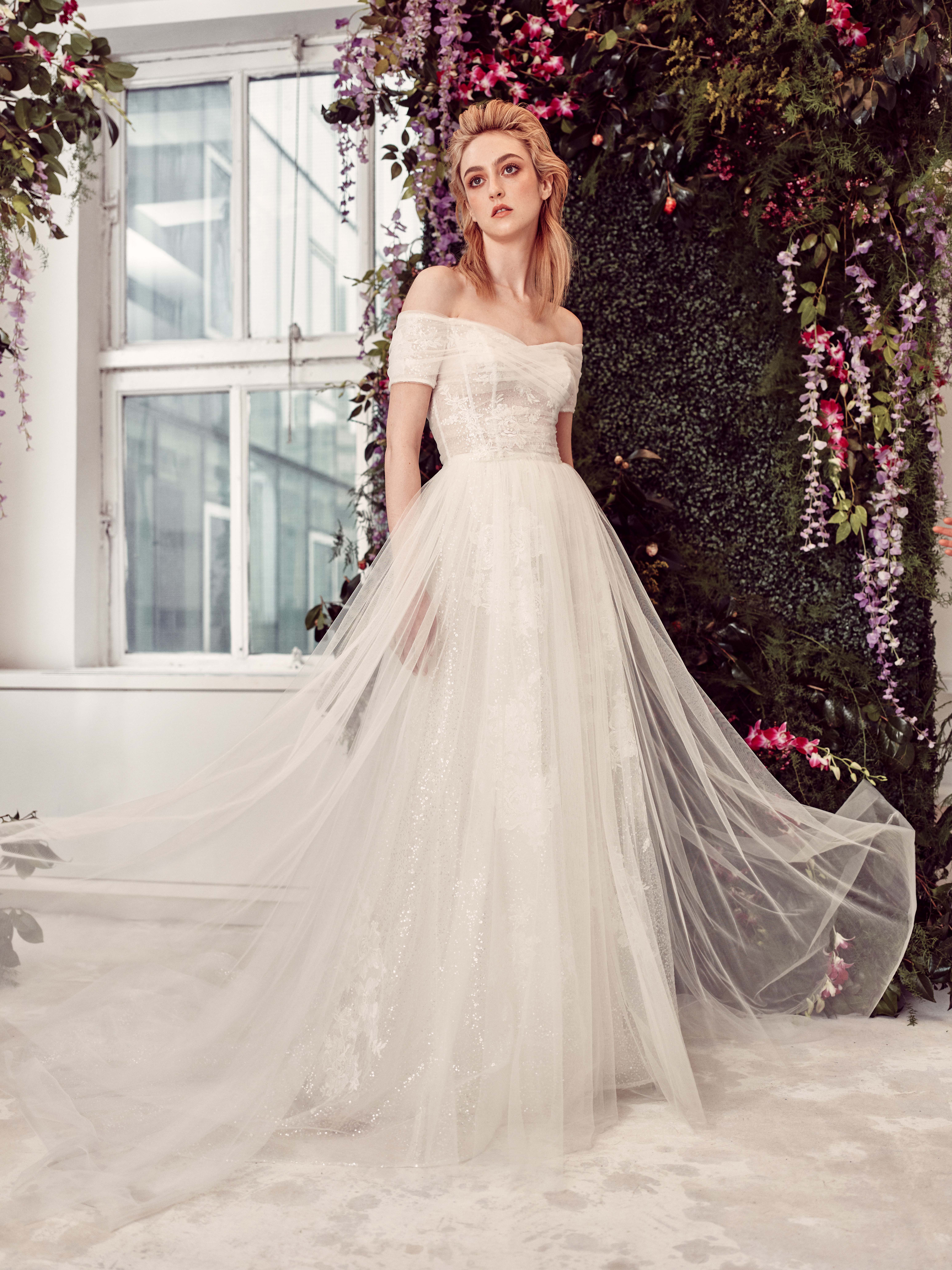 off-the-shoulder tulle ruching a-line wedding dress Rivini by Rita Vinieris Spring 2020