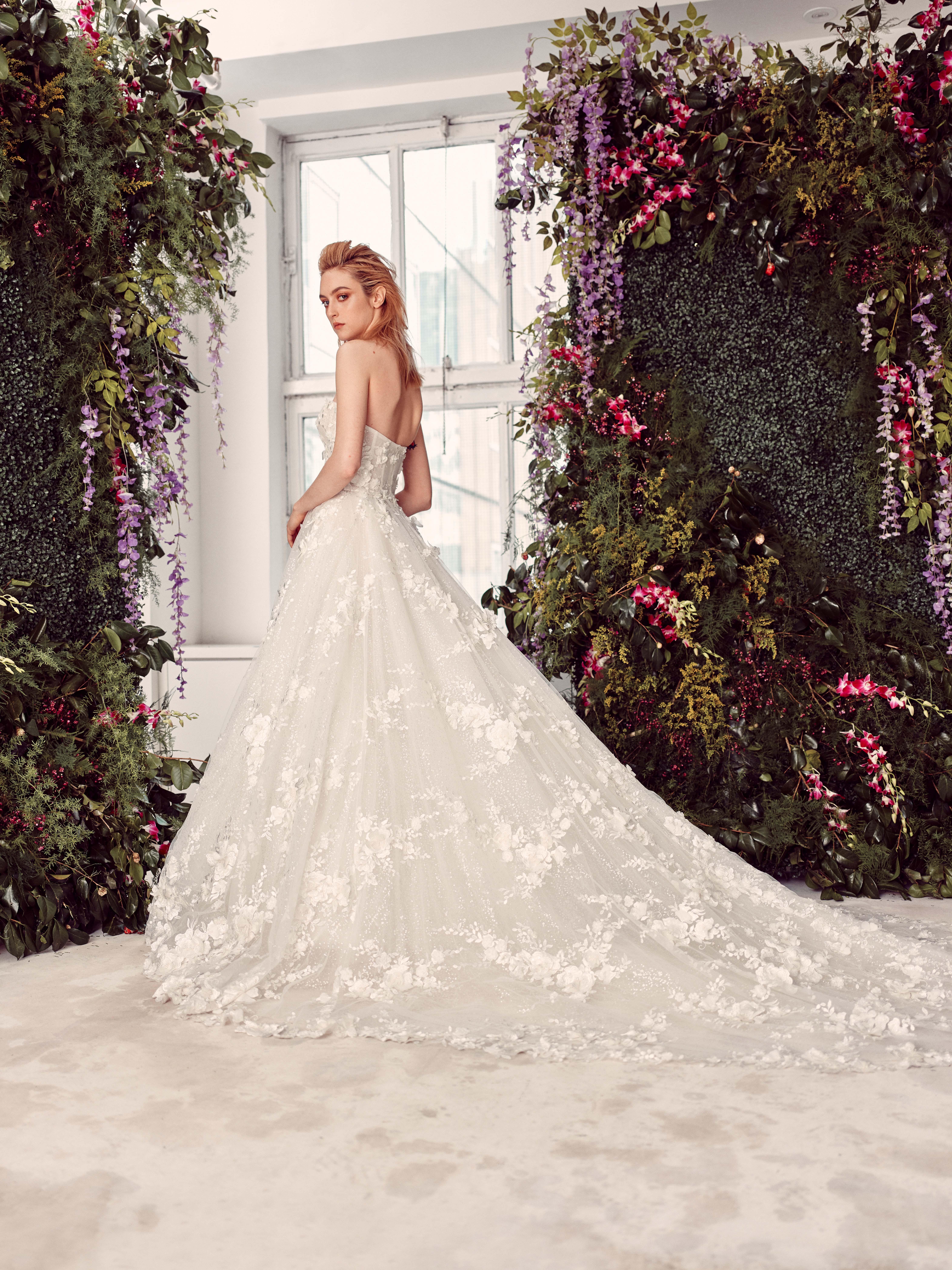 strapless floral applique train a-line wedding dress Rivini by Rita Vinieris Spring 2020