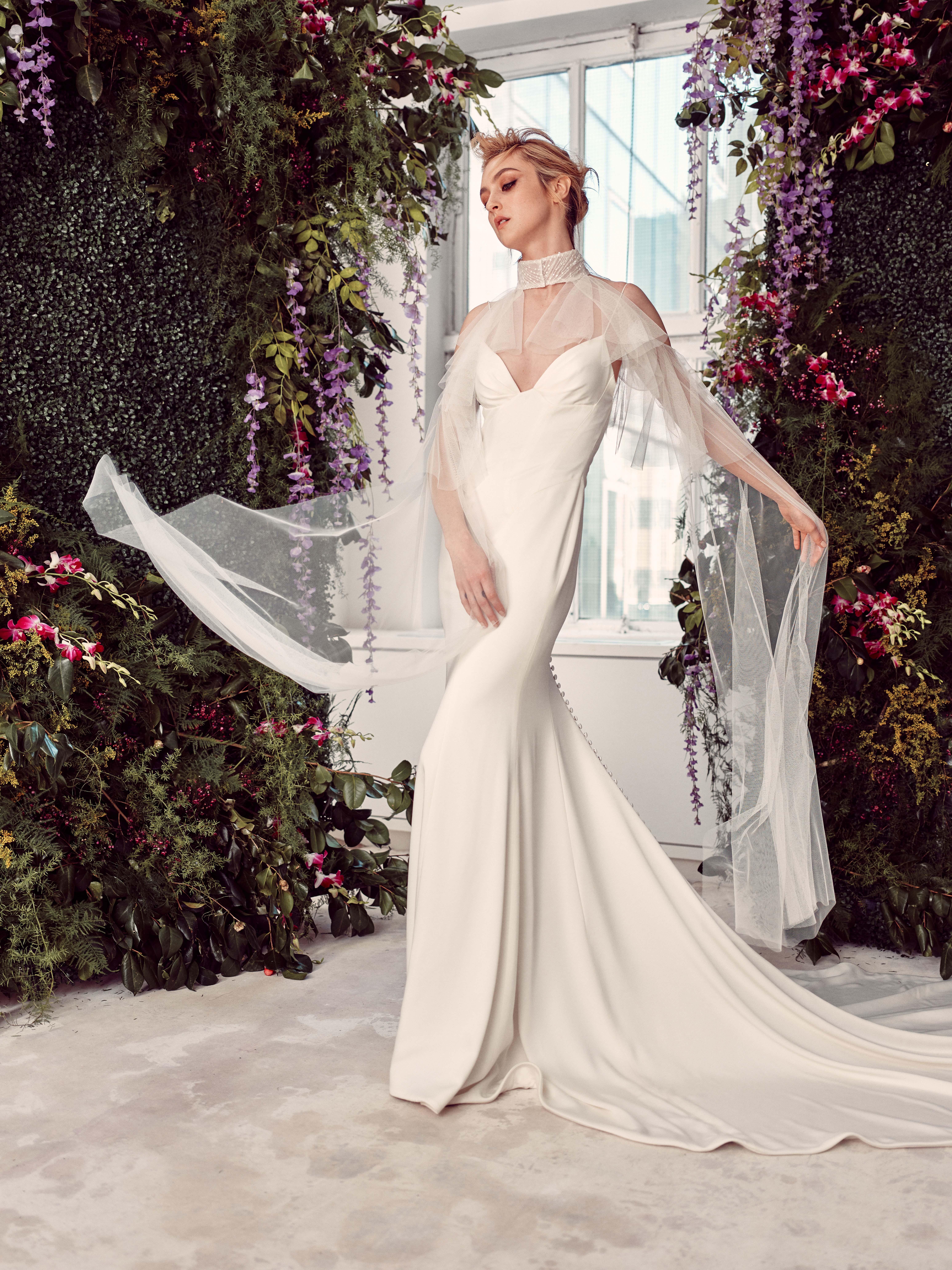 spaghetti strap v-neck long tulle cape a-line wedding dress Rivini by Rita Vinieris Spring 2020