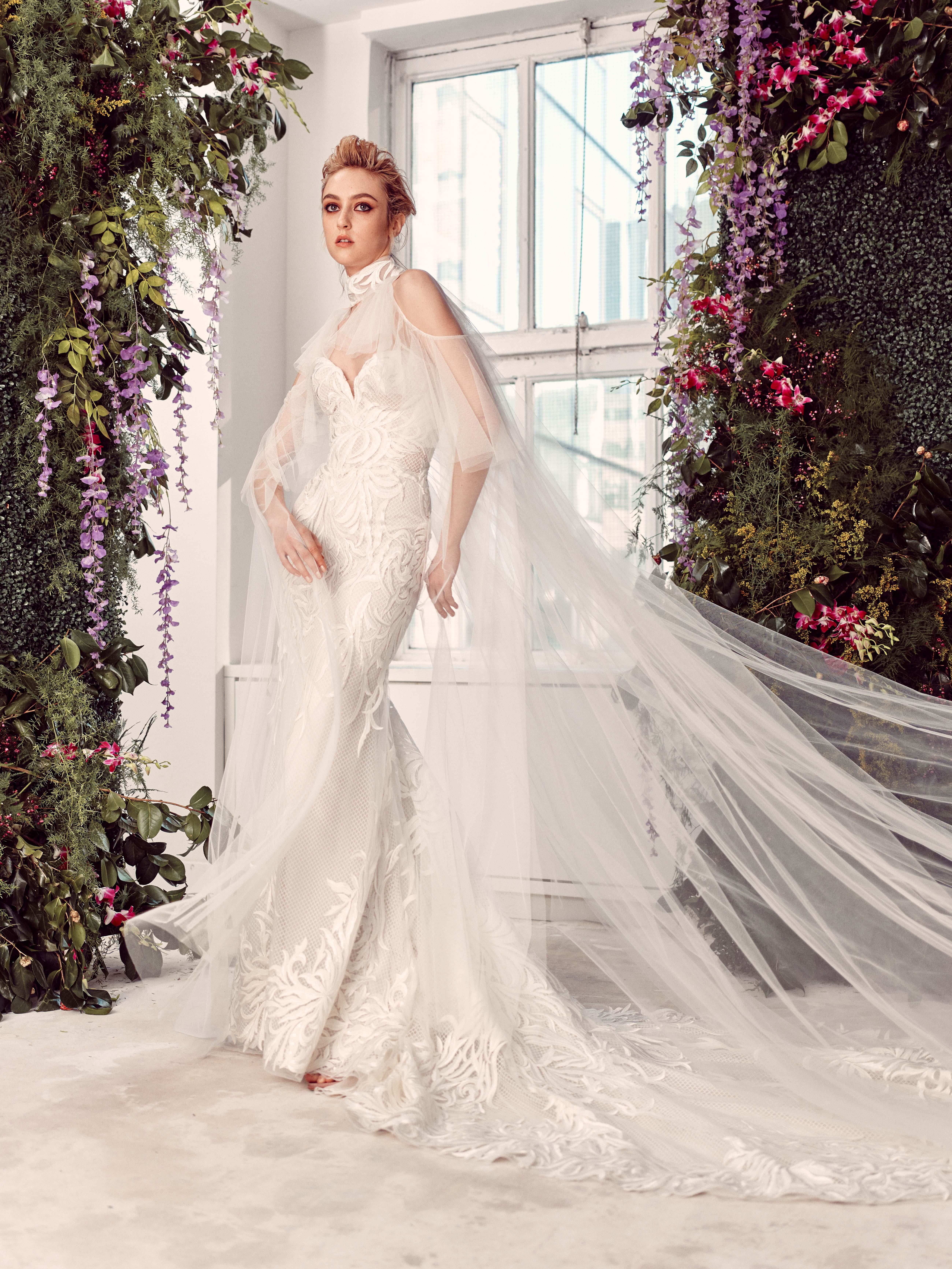 tulle cold shoulder cape sweetheart neckline lace mermaid wedding dress Rivini by Rita Vinieris Spring 2020