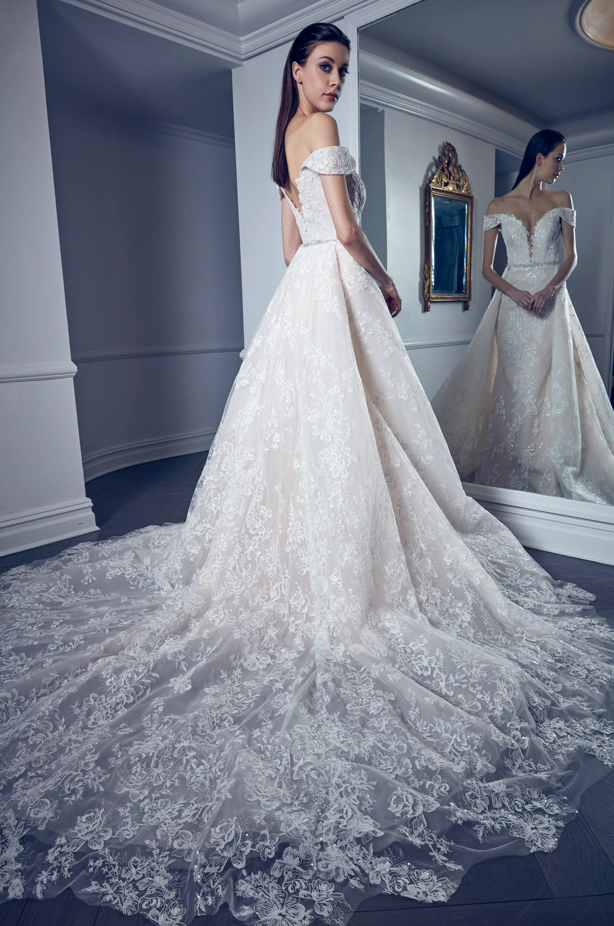 plunging v-neck off-the-shoulder lace romona keveza collection spring 2020