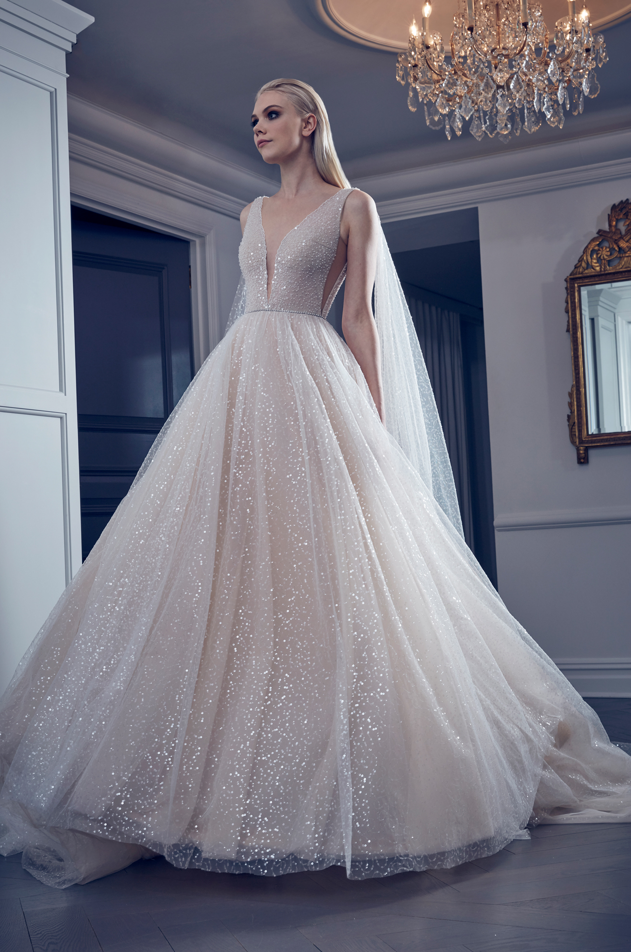 glitter plunging v-neck tulle ball gown romona keveza collection spring 2020