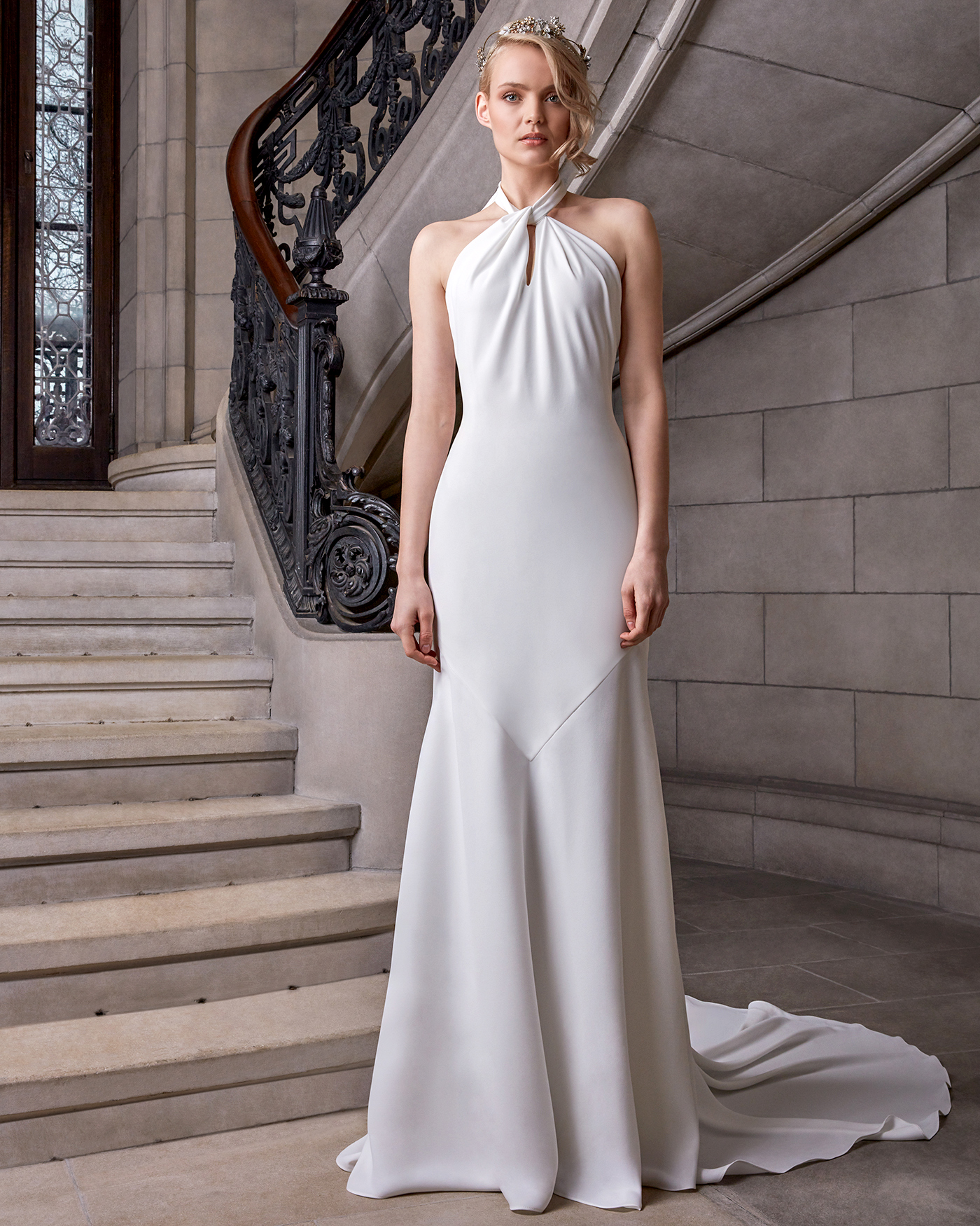 sareh nouri high neck sheath wedding dress spring 2020