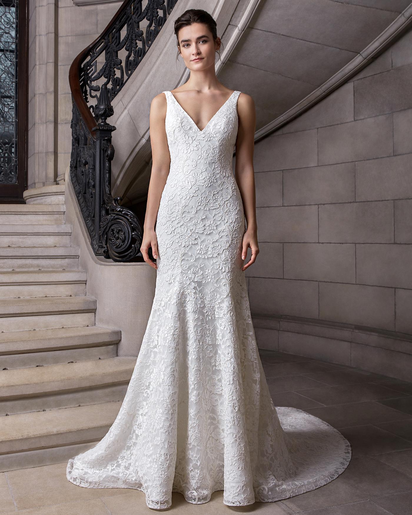 sareh nouri v-neck floral applique wedding dress spring 2020