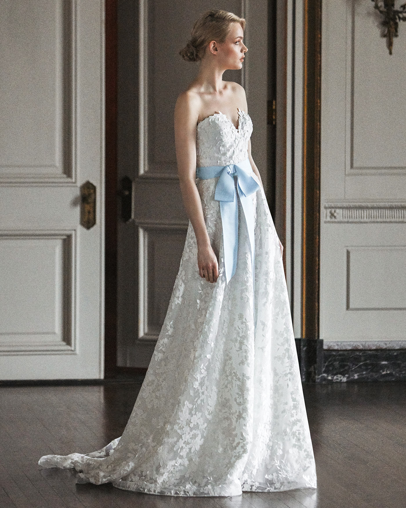 sareh nouri strapless blue bow wedding dress spring 2020