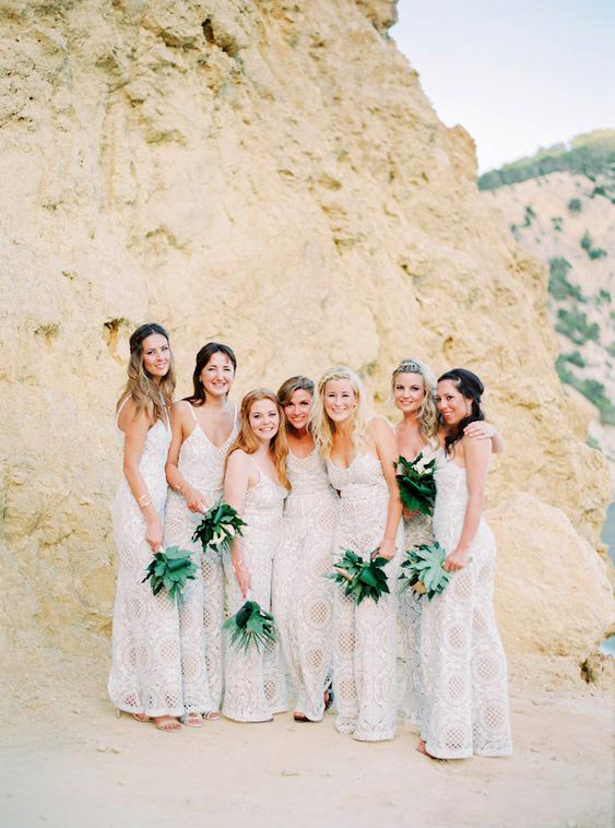 women in desert wearing bridesmaids jumpsuits