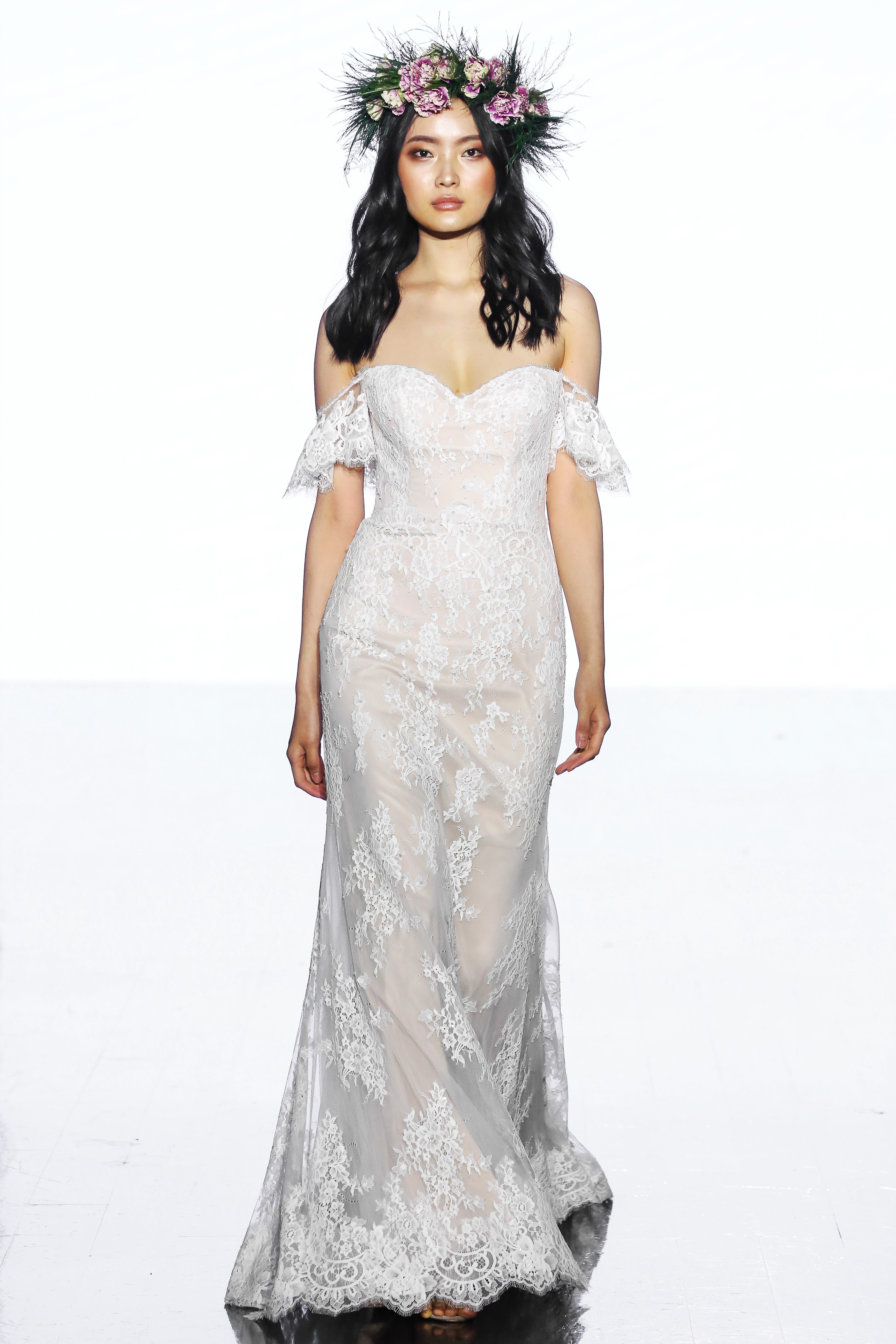 wtoo by watters off the shoulder lace wedding dress spring 2020