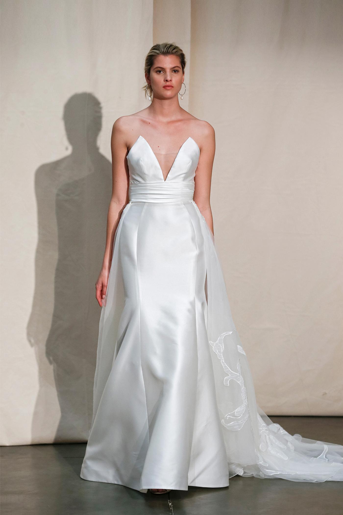 justin alexander plunging neck skirt overlay wedding dress spring 2020