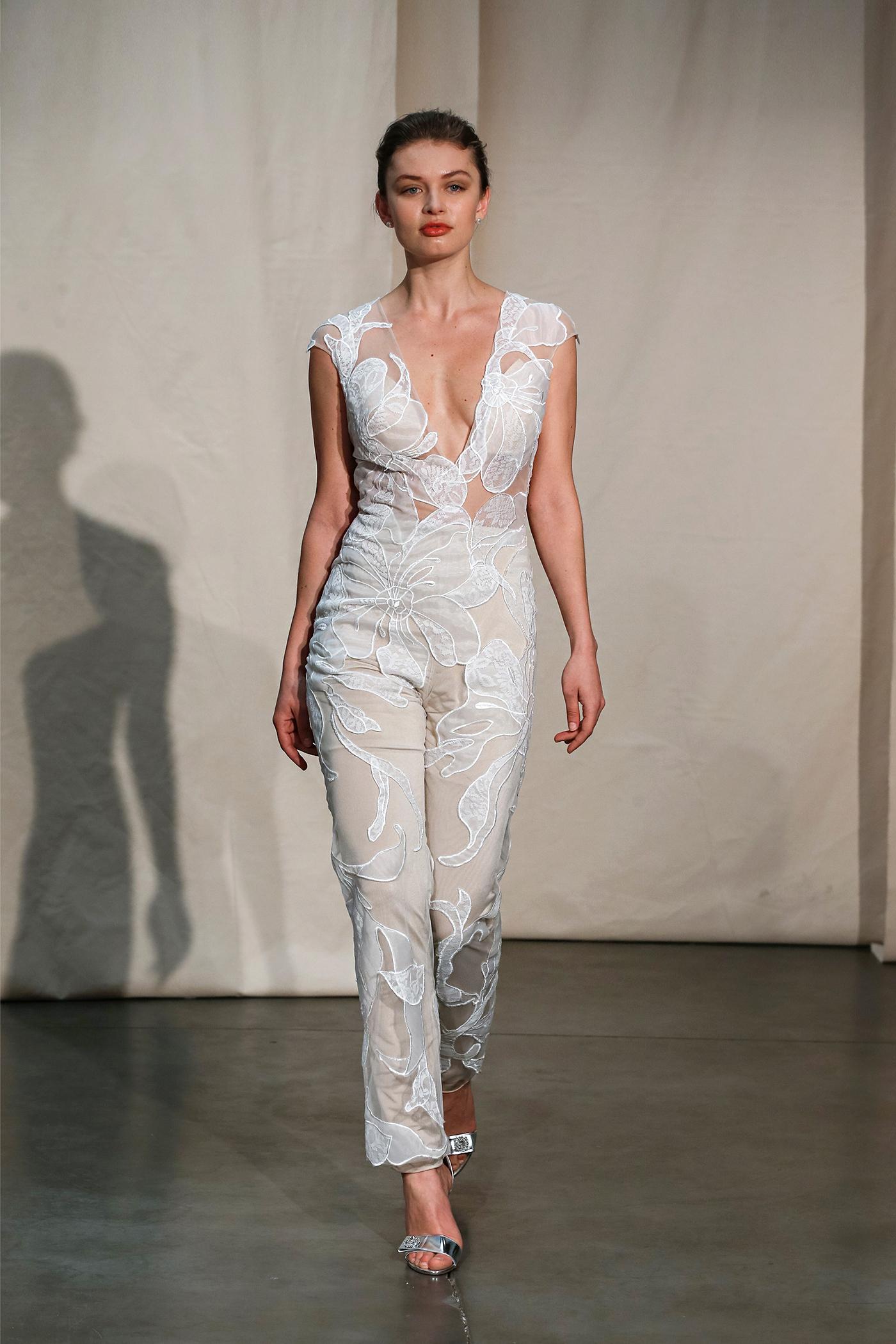 justin alexander embroidered illusion jumpsuit wedding dress spring 2020