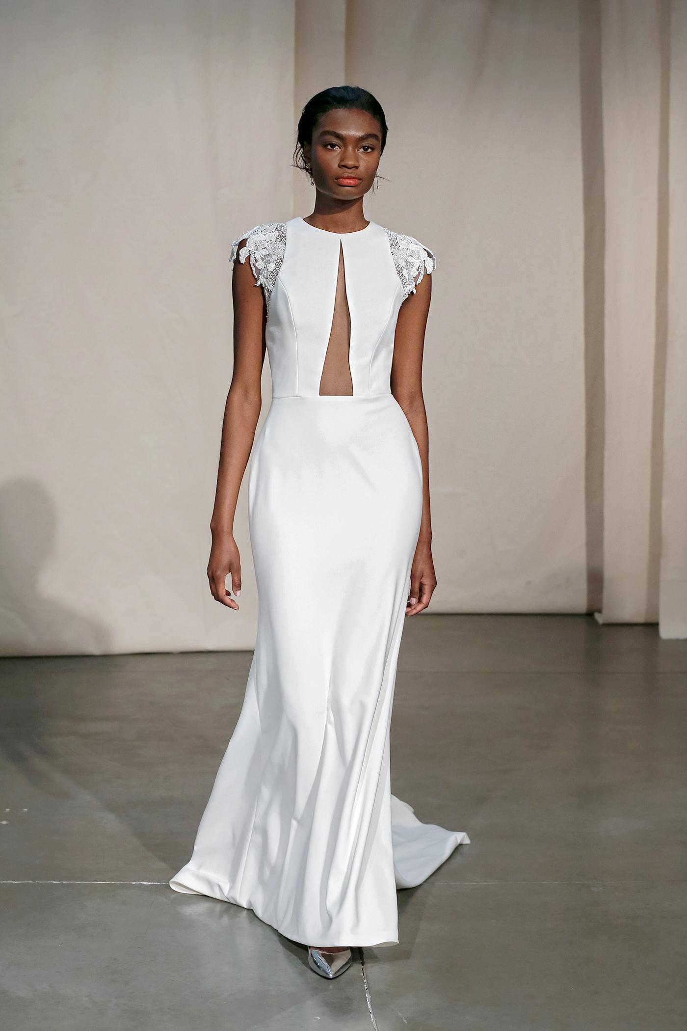 justin alexander cap-sleeved cut-out bodice wedding dress spring 2020