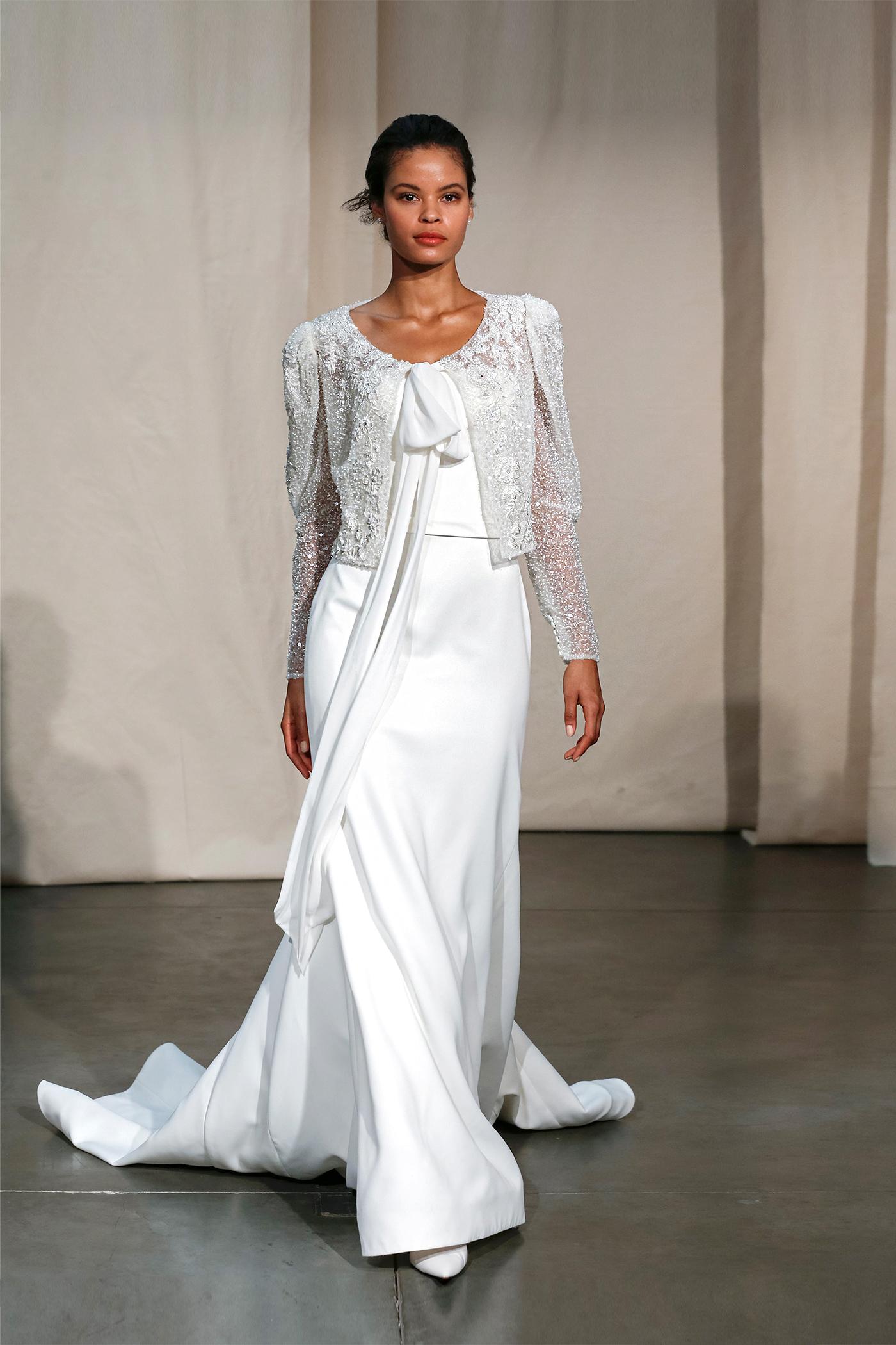 justin alexander embellished tie jacket wedding dress spring 2020
