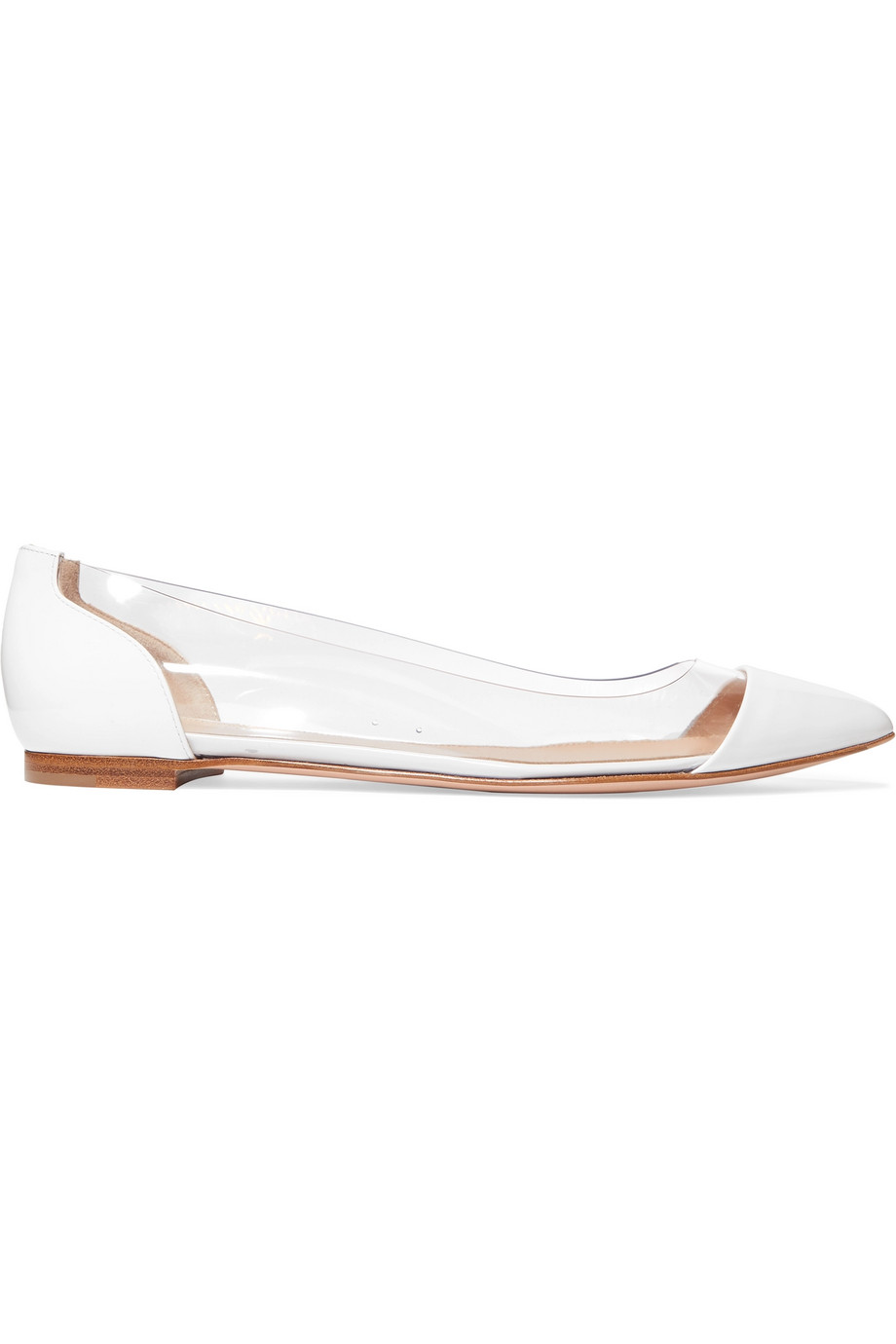 Gianvito Rossi Plexi Patent-Leather and PVC Point-Toe Flats