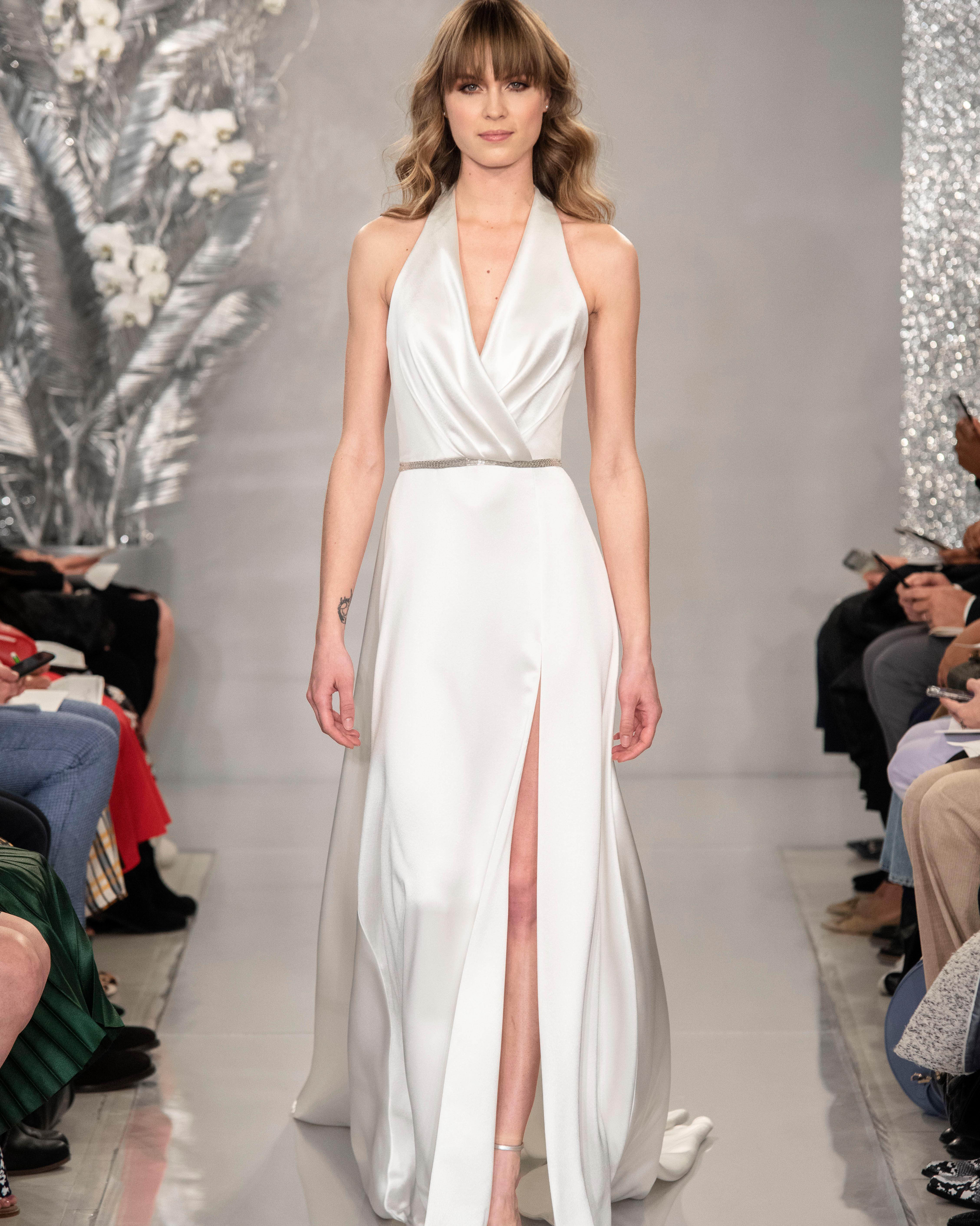 THEIA satin halter front slit wedding dress Spring 2020