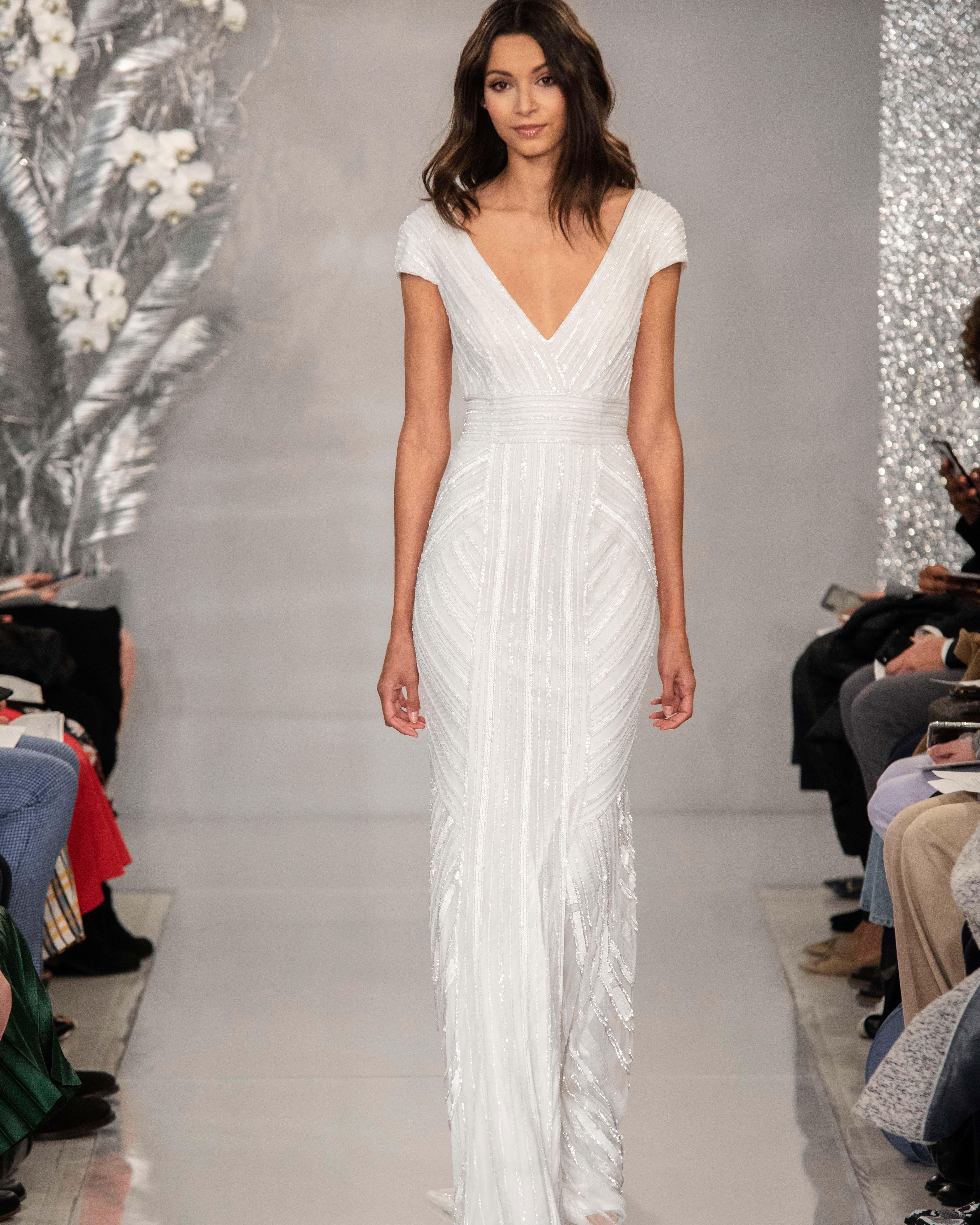 THEIA cap sleeve v-neck wedding dress Spring 2020