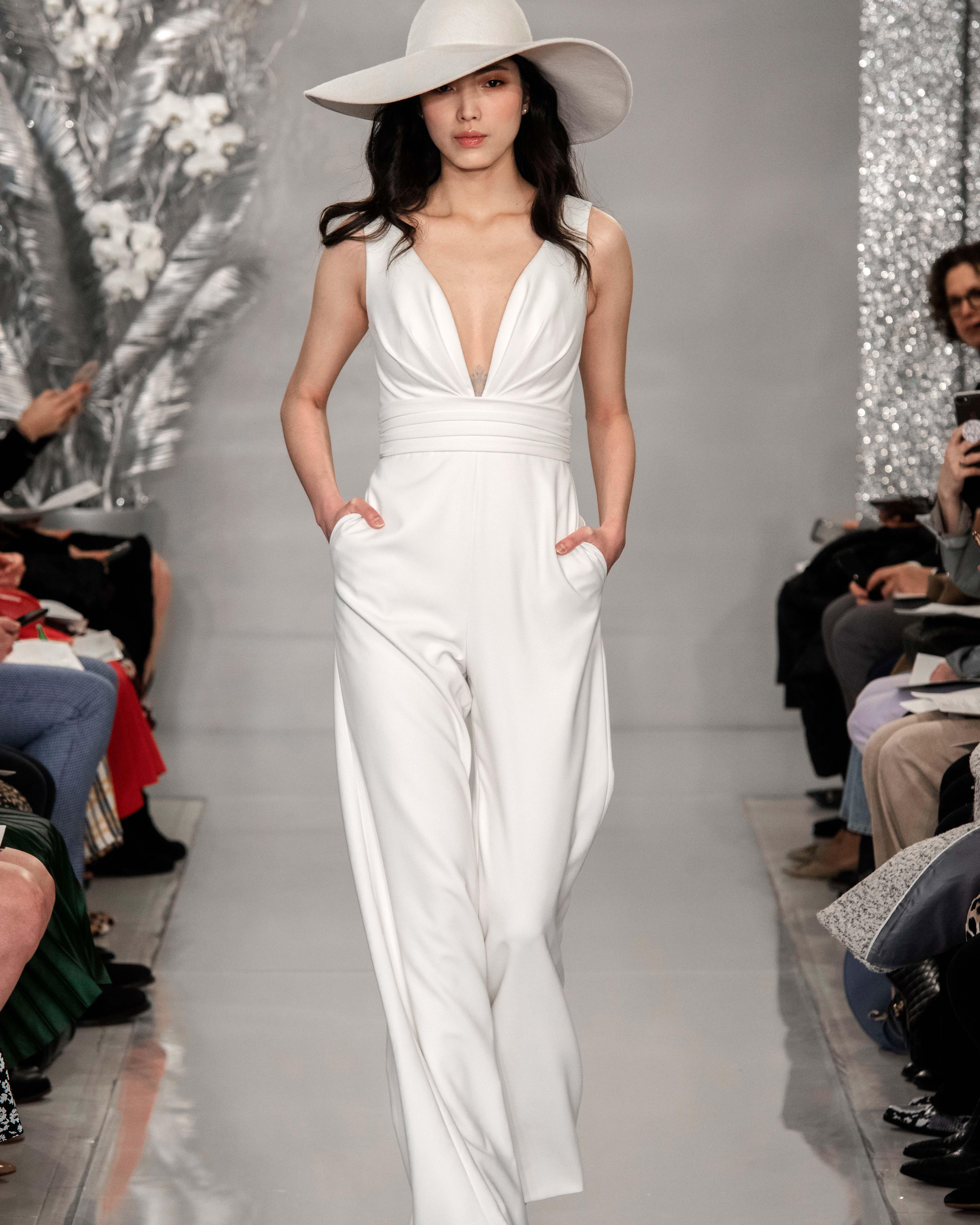 THEIA v-neck jump suit wedding dress Spring 2020