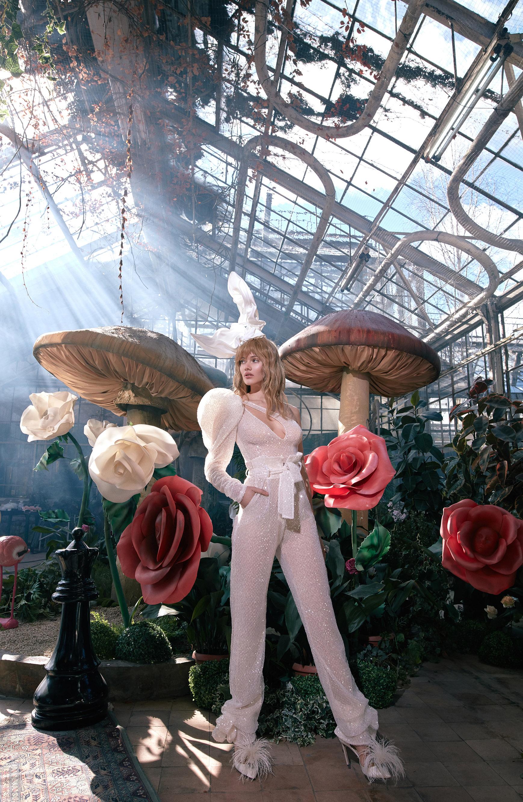 long puffed sleeves belted sheer glitter jumpsuit wedding suit Gala by Galia Lahav Spring 2020
