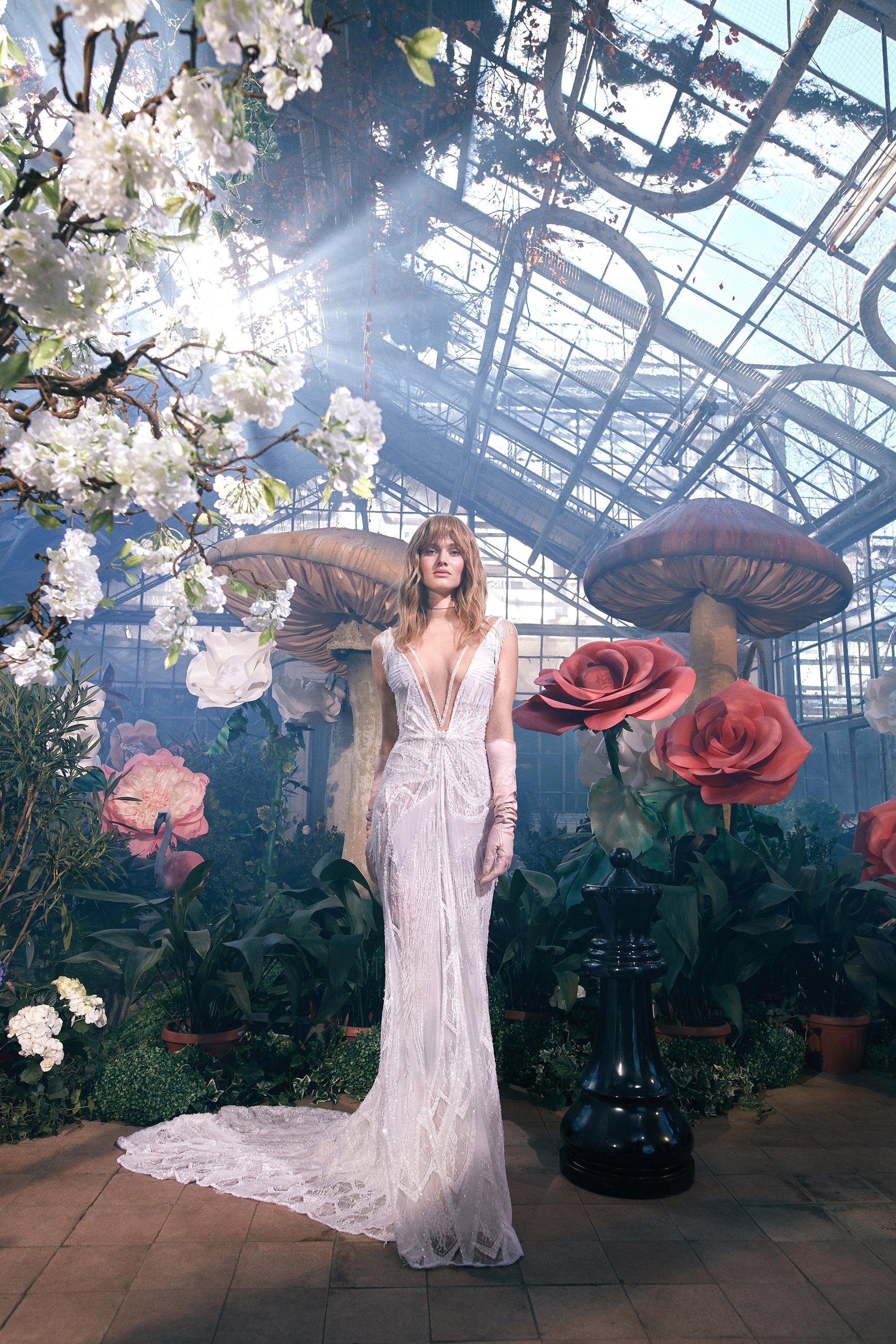 sleeveless plunging v-neck lace train a-line wedding dress Gala by Galia Lahav Spring 2020