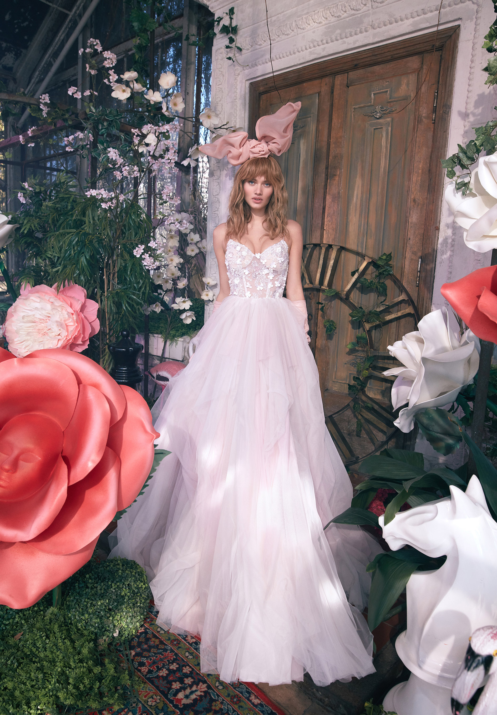 strapless exposed boning floral applique tulle skirt a-line wedding dress Gala by Galia Lahav Spring 2020