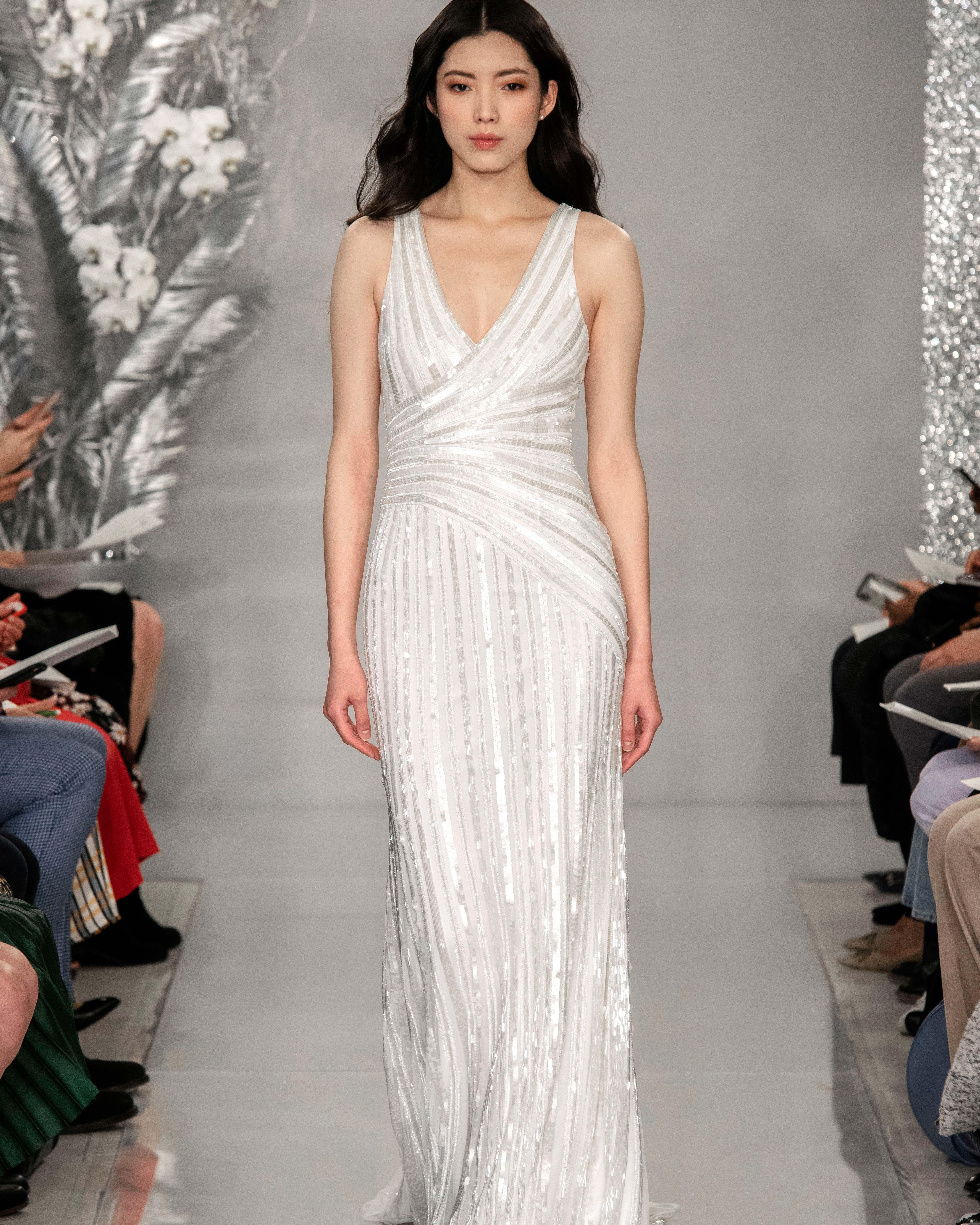 THEIA v-neck polychrome sequin wedding dress Spring 2020