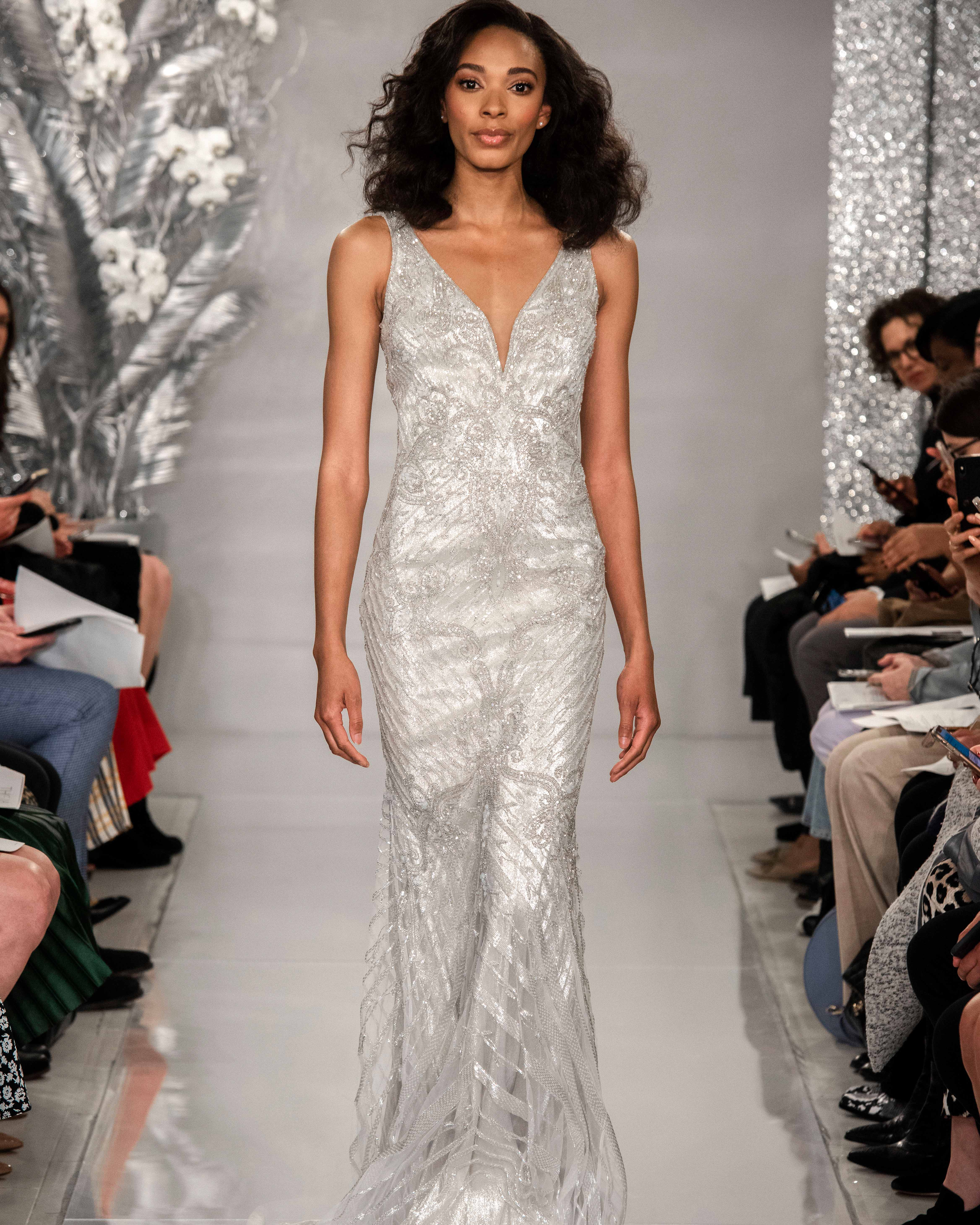 THEIA platinum v-neck beaded wedding dress Spring 2020