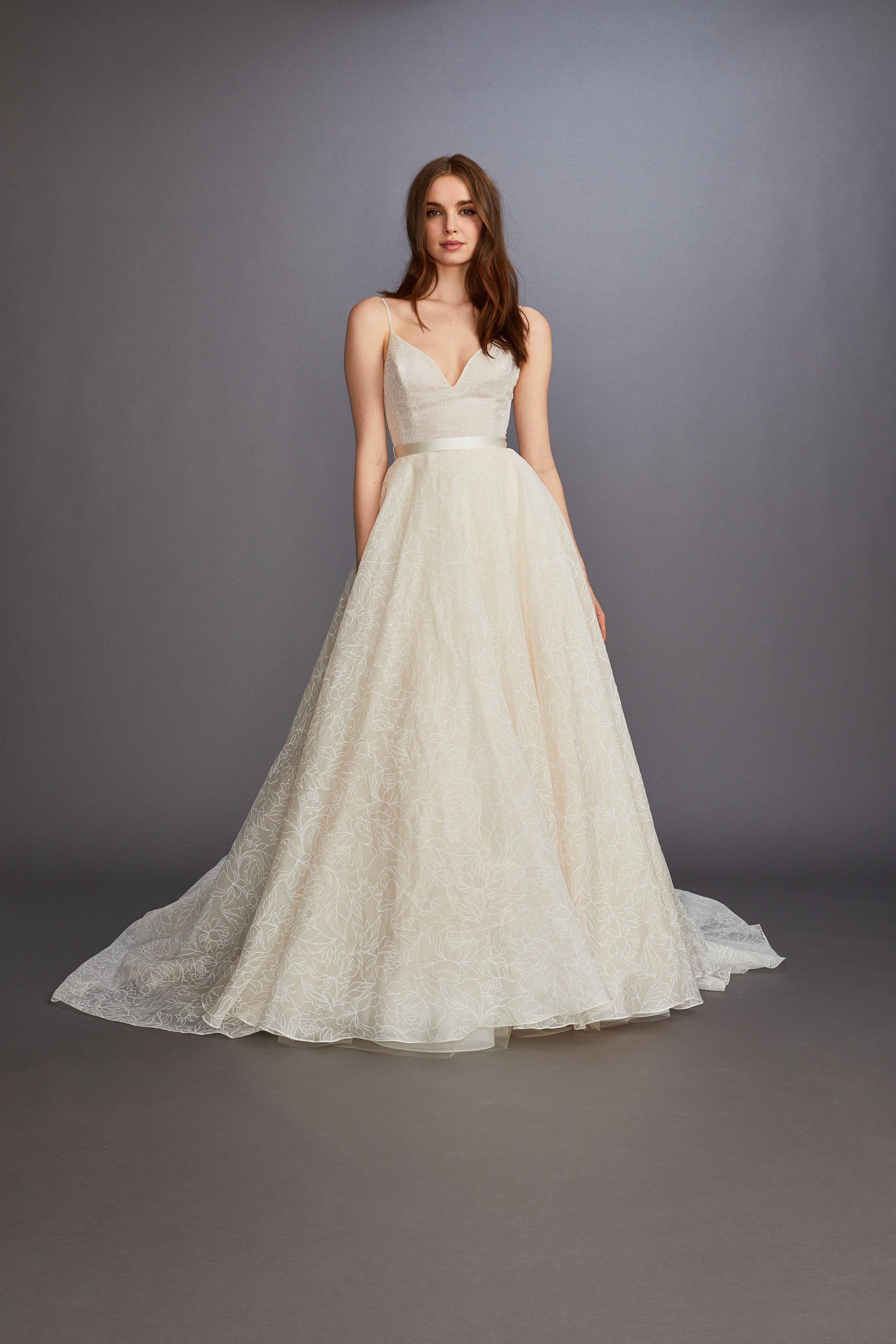 spaghetti strap v-neck belted a-line wedding dress Lazaro Spring 2020