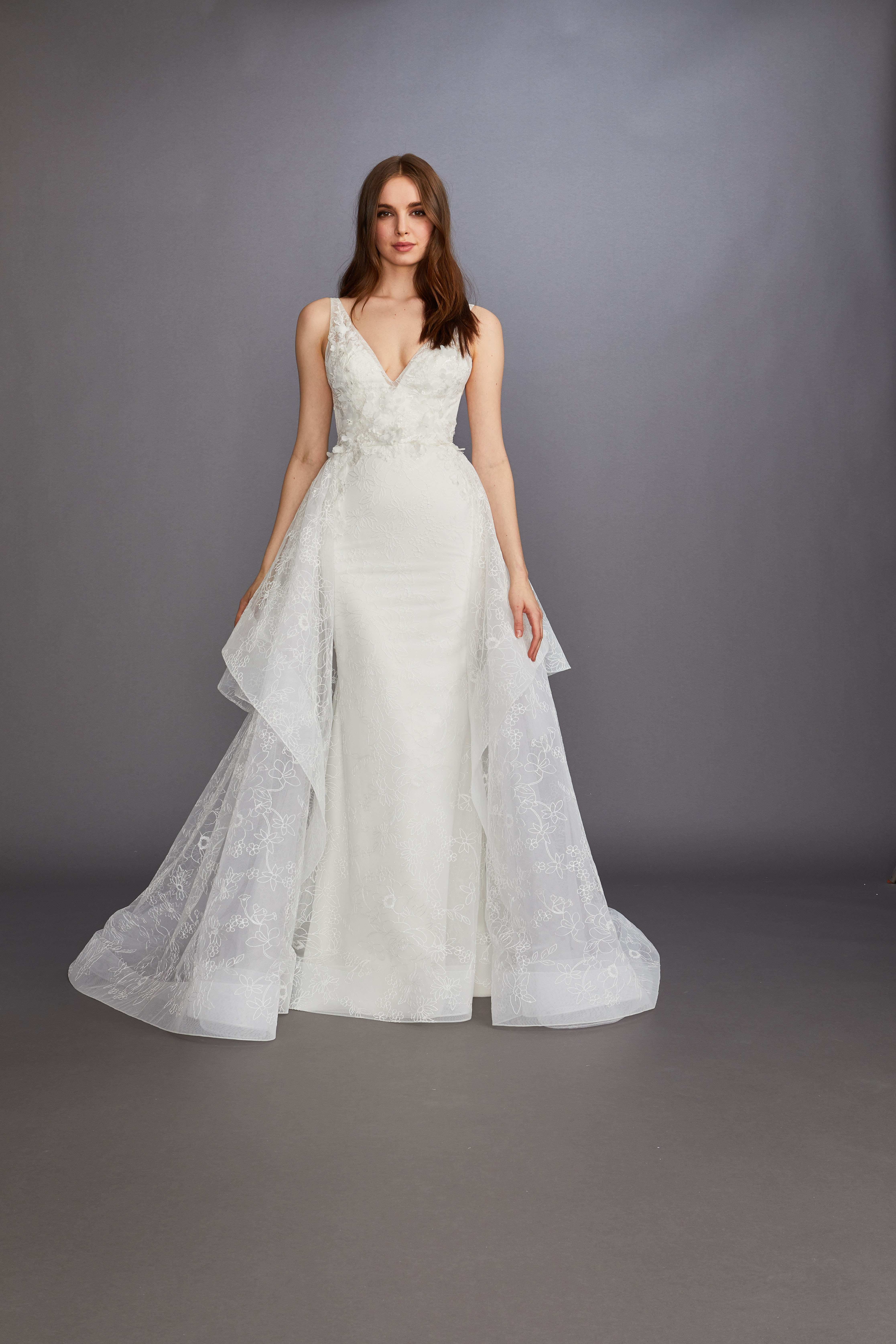 thick spaghetti strap v-neck lace floral applique a-line wedding dress Lazaro Spring 2020