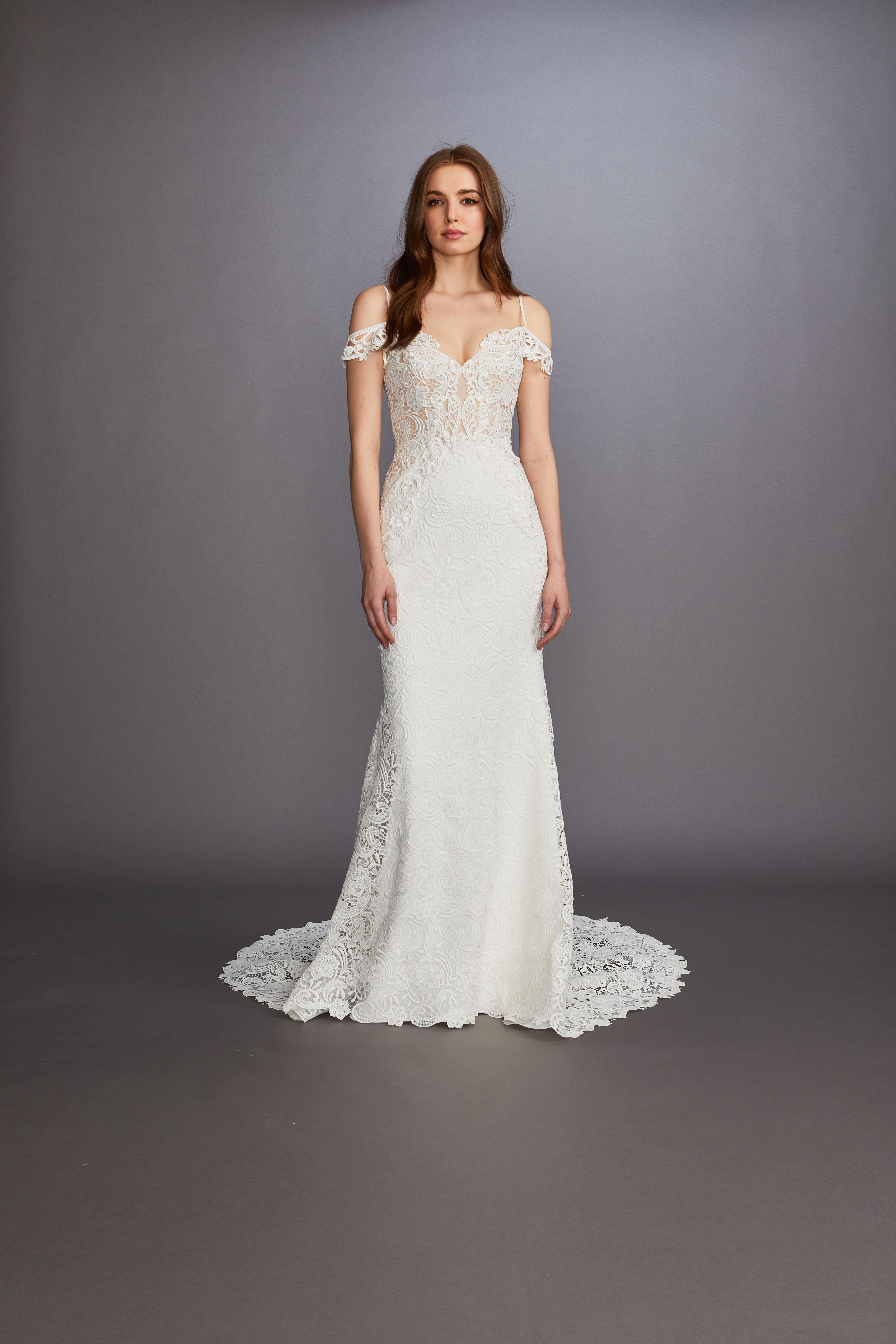 off-the-shoulder sheer lace a-line wedding dress Lazaro Spring 2020