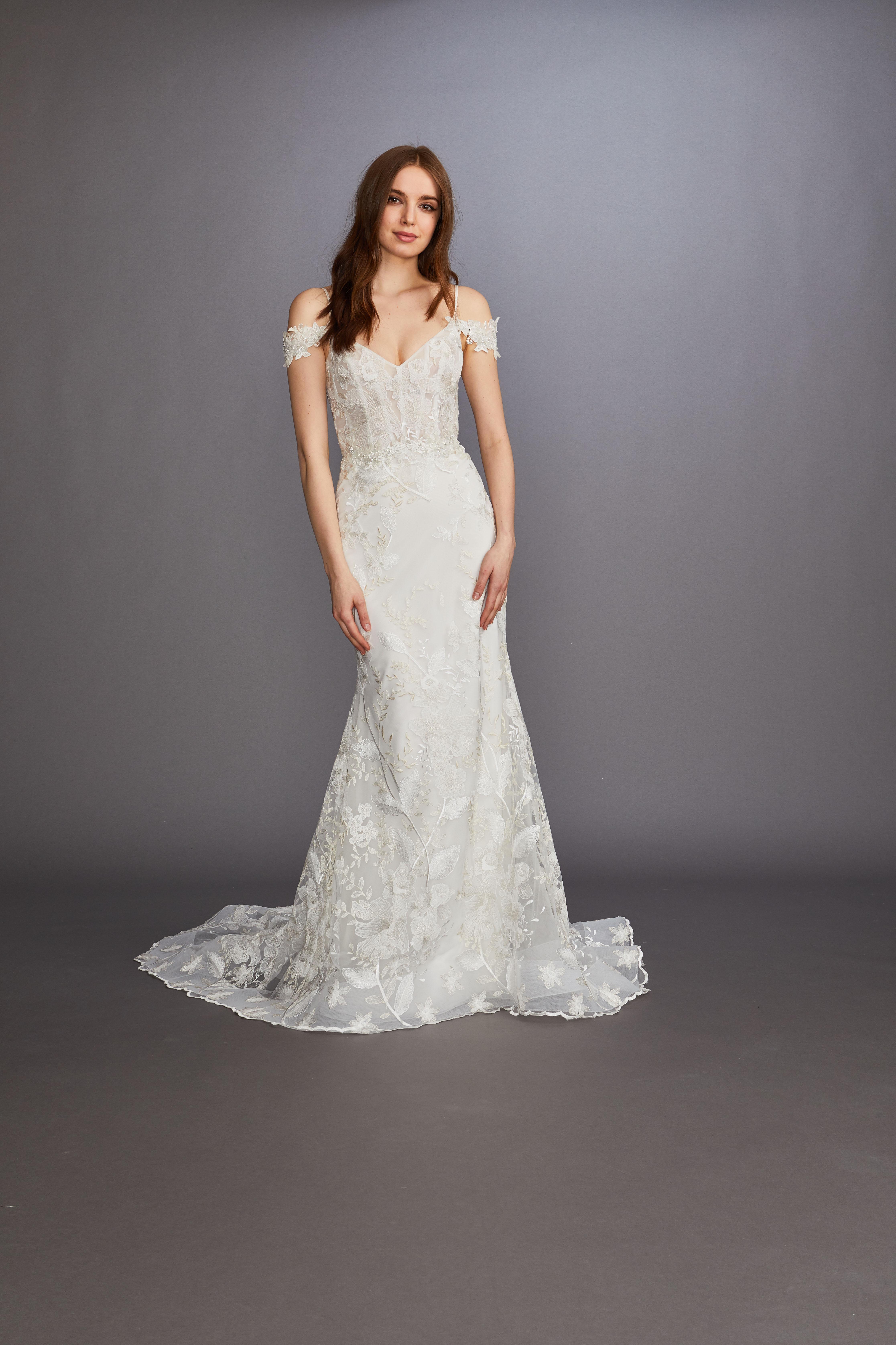 off-the-shoulder sheer lace exposed boning semi trumpet wedding dress Lazaro Spring 2020