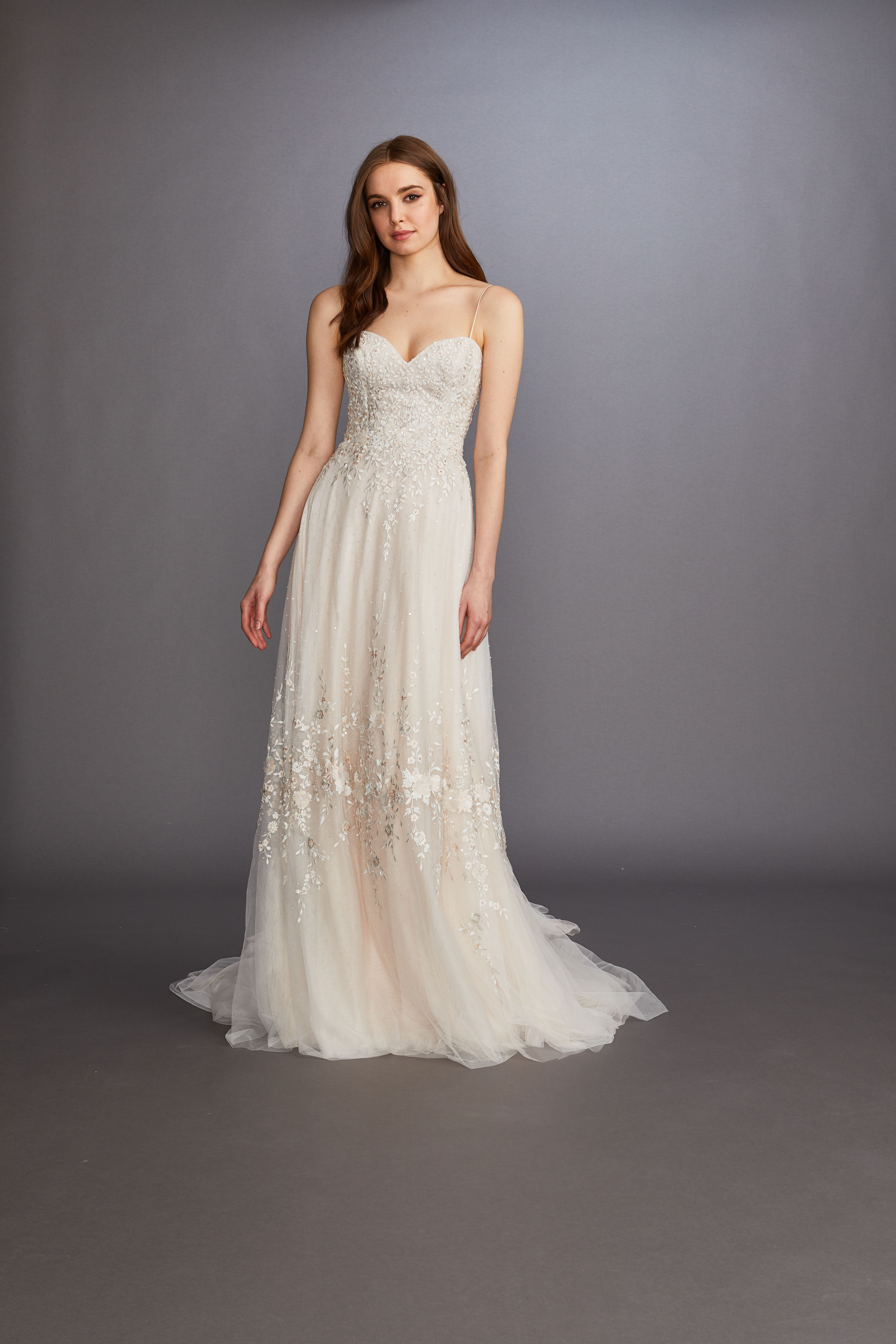 spaghetti strap sweetheart neckline lace a-line tulle wedding dress Lazaro Spring 2020